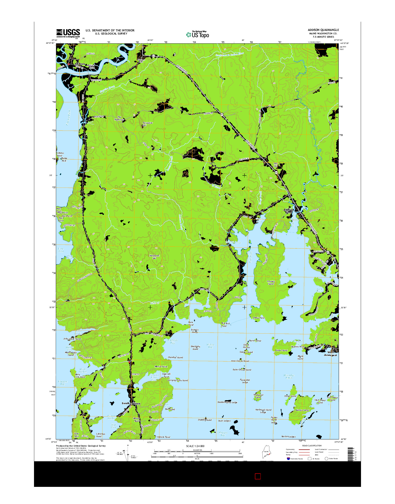 USGS US TOPO 7.5-MINUTE MAP FOR ADDISON, ME 2014