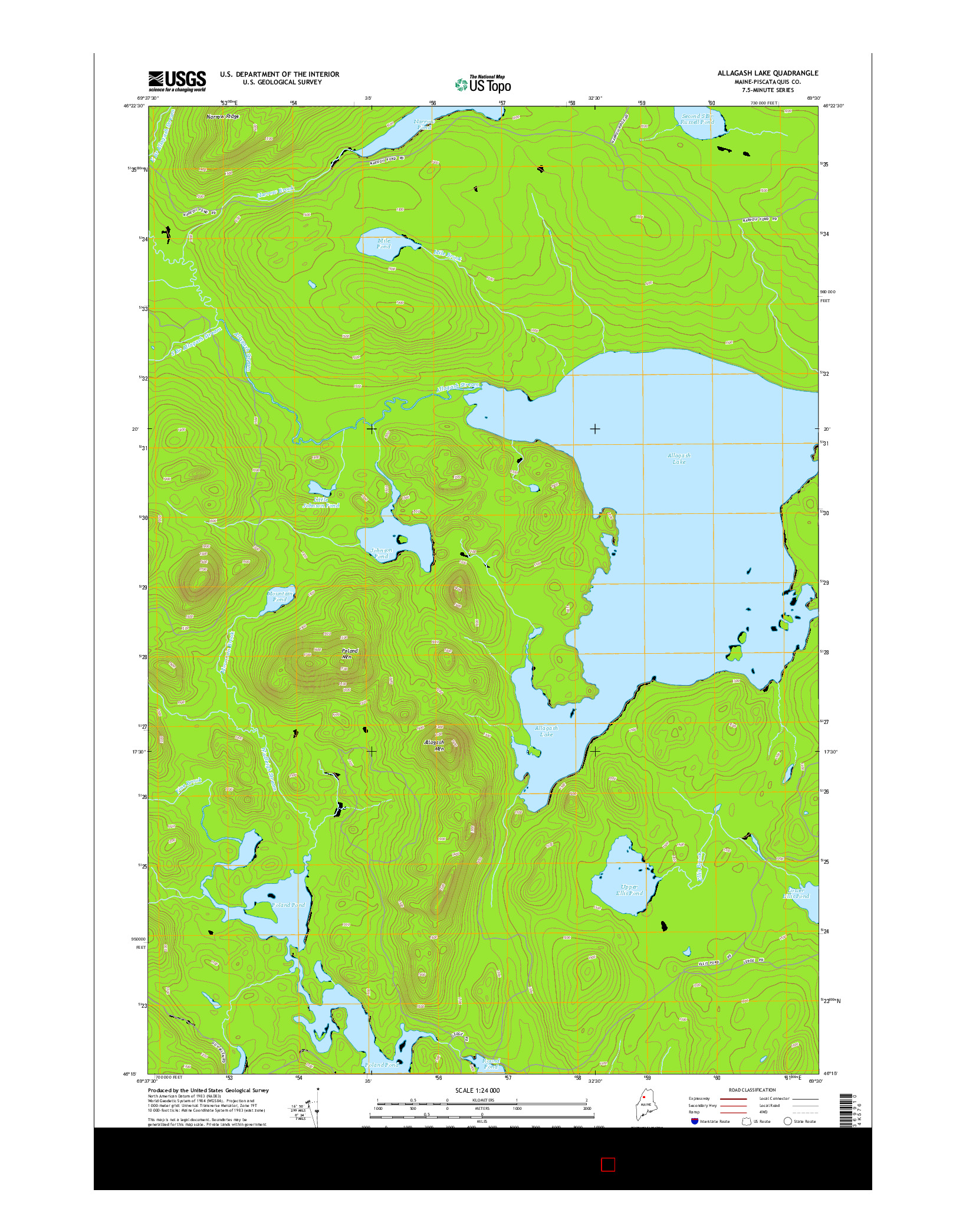 USGS US TOPO 7.5-MINUTE MAP FOR ALLAGASH LAKE, ME 2014