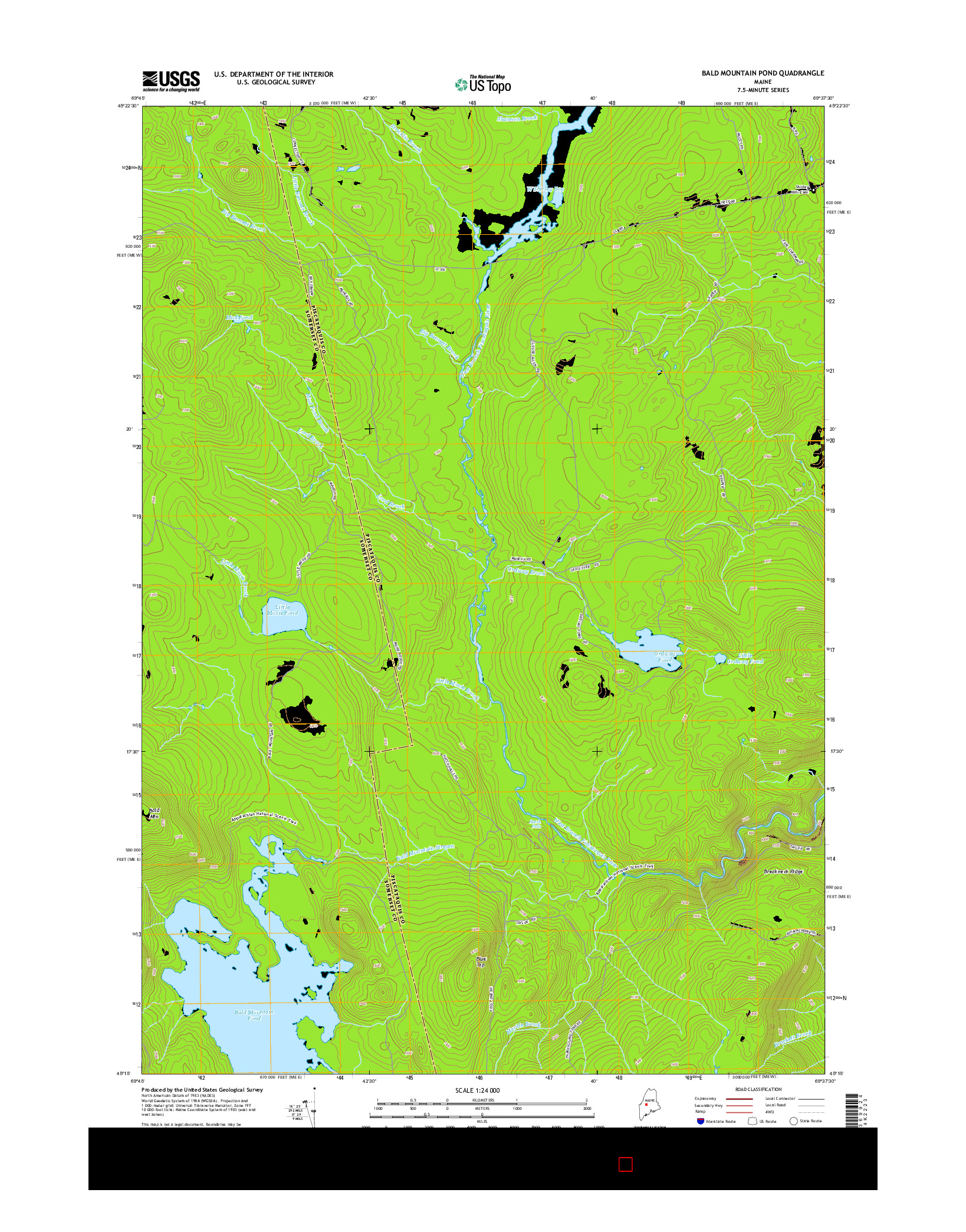 USGS US TOPO 7.5-MINUTE MAP FOR BALD MOUNTAIN POND, ME 2014