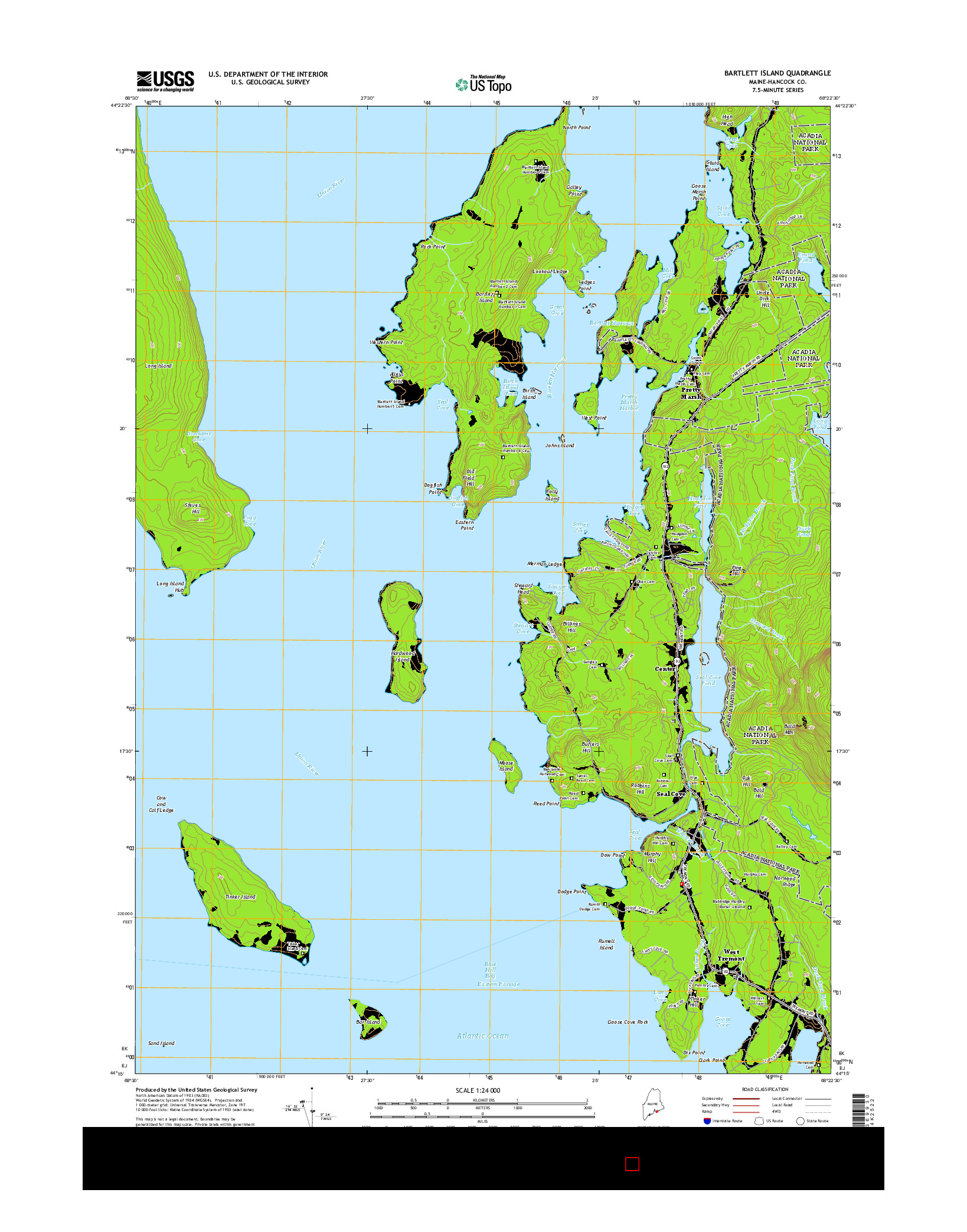USGS US TOPO 7.5-MINUTE MAP FOR BARTLETT ISLAND, ME 2014