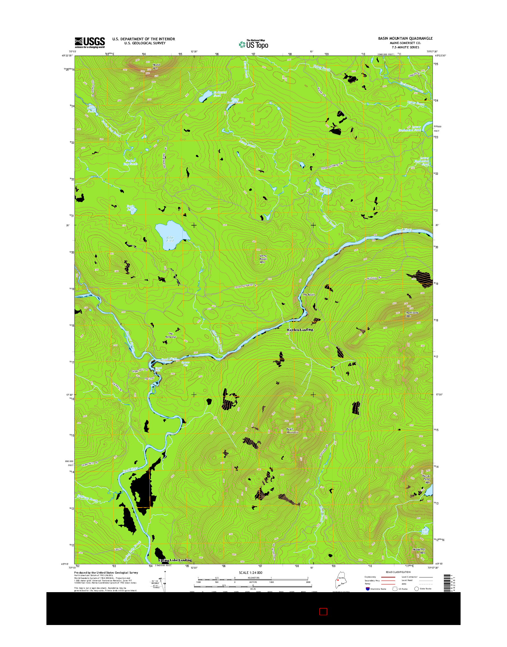 USGS US TOPO 7.5-MINUTE MAP FOR BASIN MOUNTAIN, ME 2014