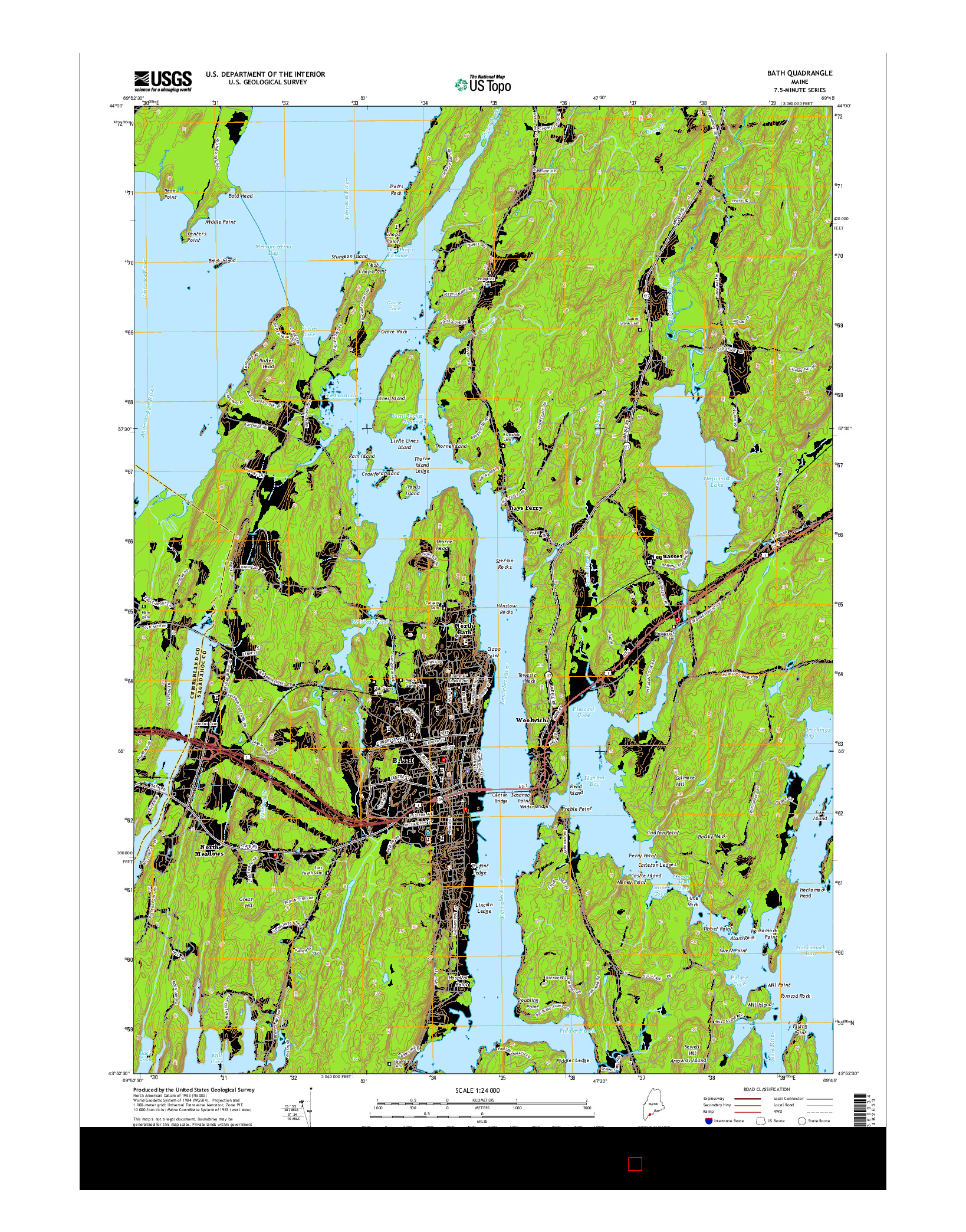 USGS US TOPO 7.5-MINUTE MAP FOR BATH, ME 2014