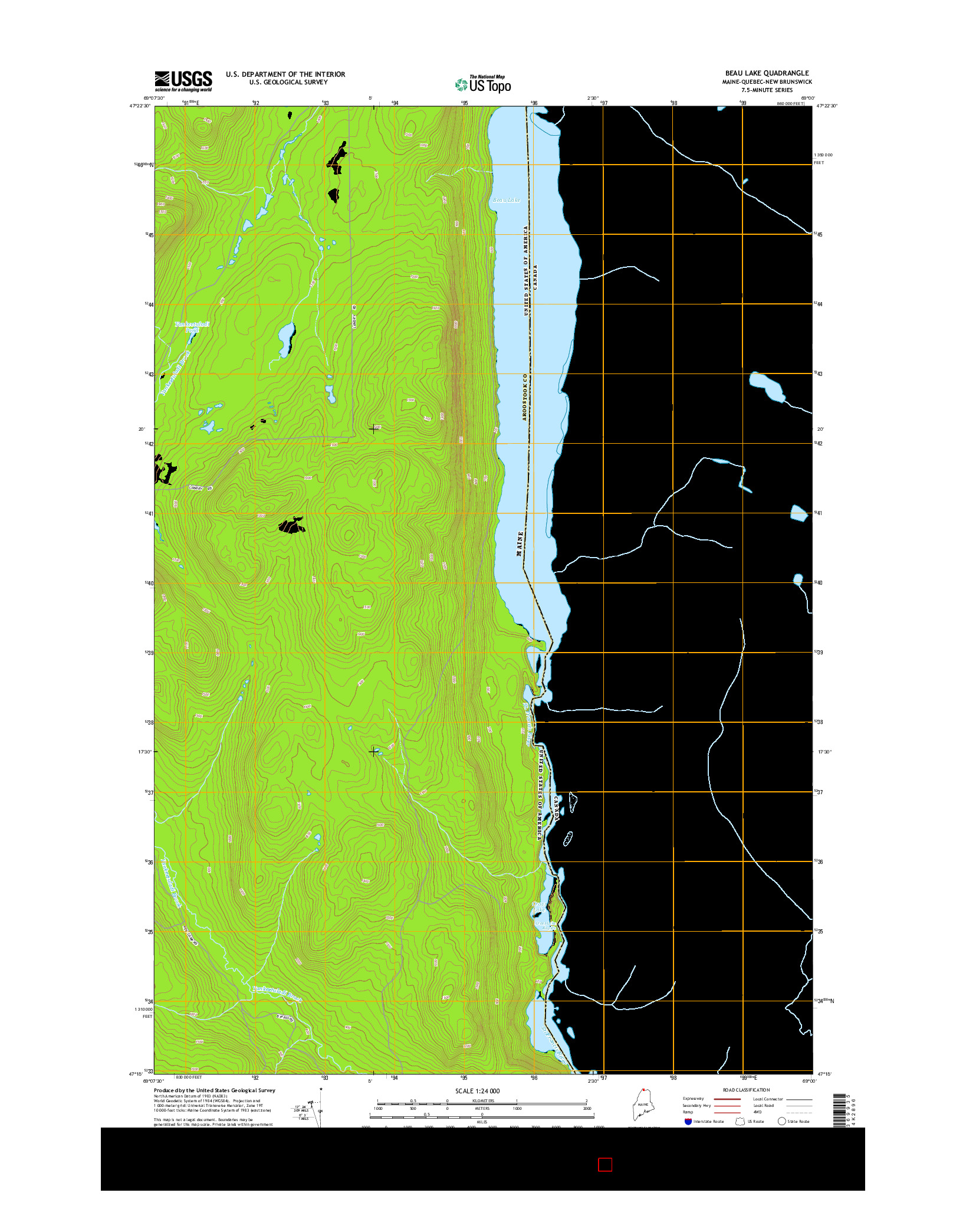 USGS US TOPO 7.5-MINUTE MAP FOR BEAU LAKE, ME-QC-NB 2014