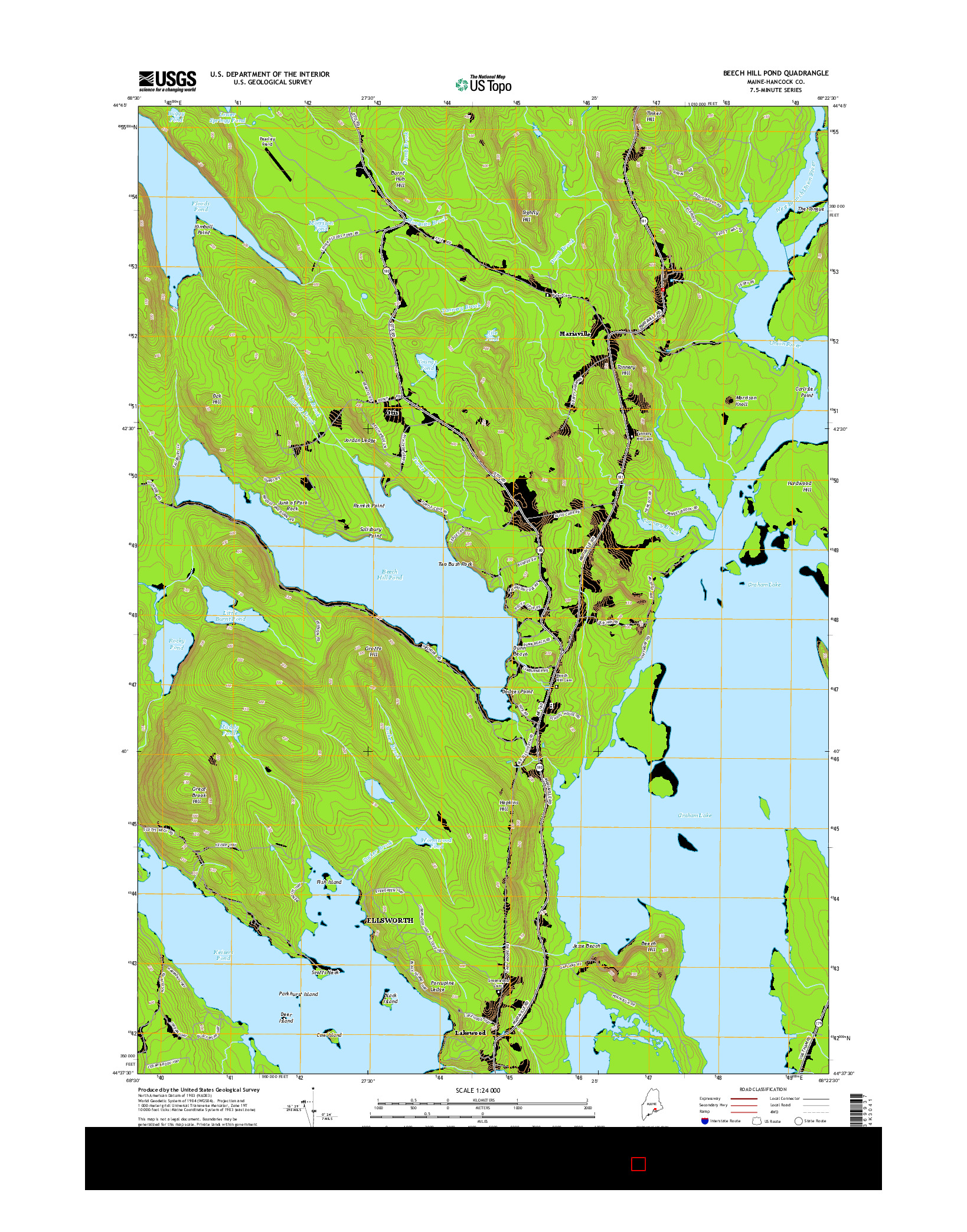 USGS US TOPO 7.5-MINUTE MAP FOR BEECH HILL POND, ME 2014