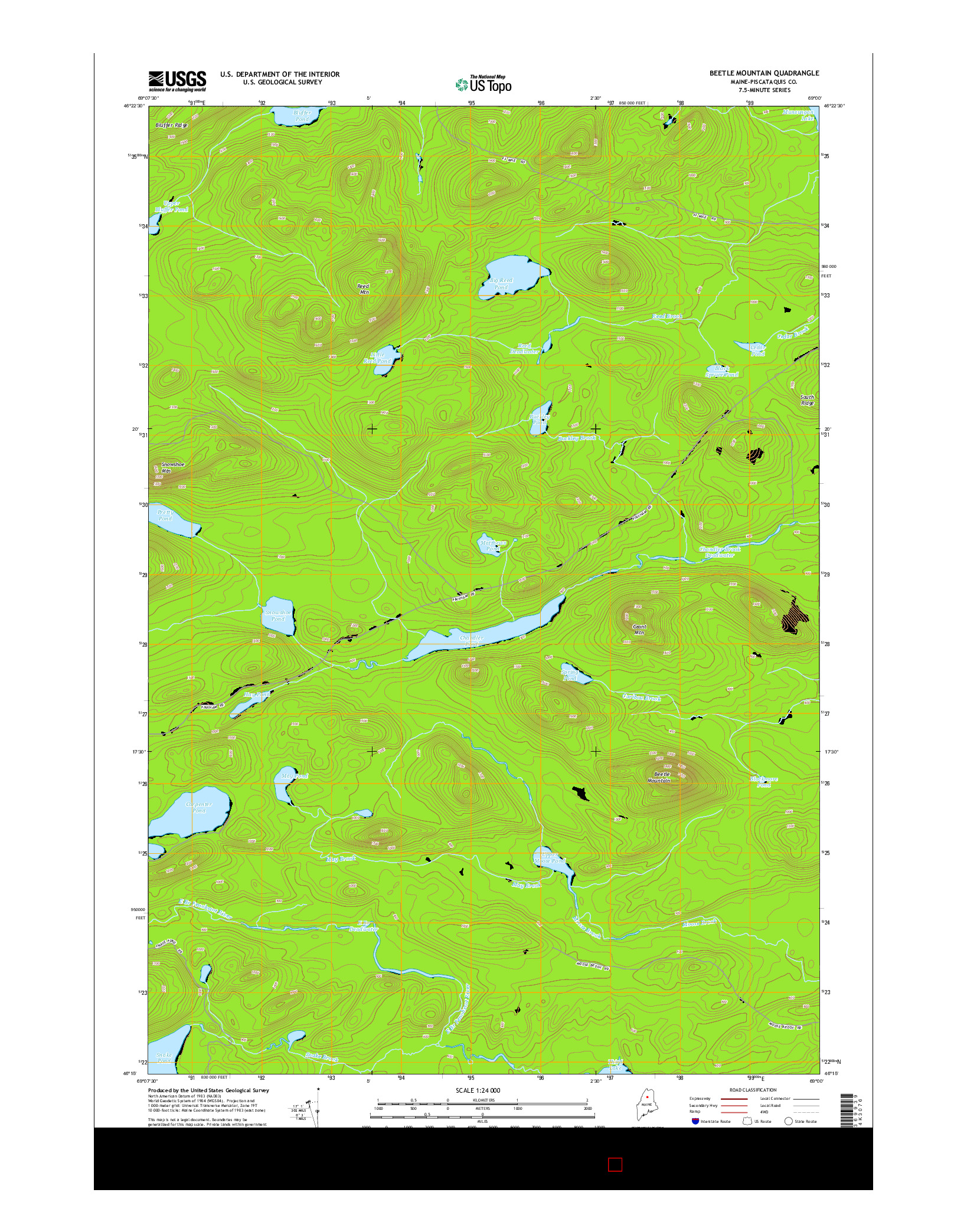 USGS US TOPO 7.5-MINUTE MAP FOR BEETLE MOUNTAIN, ME 2014