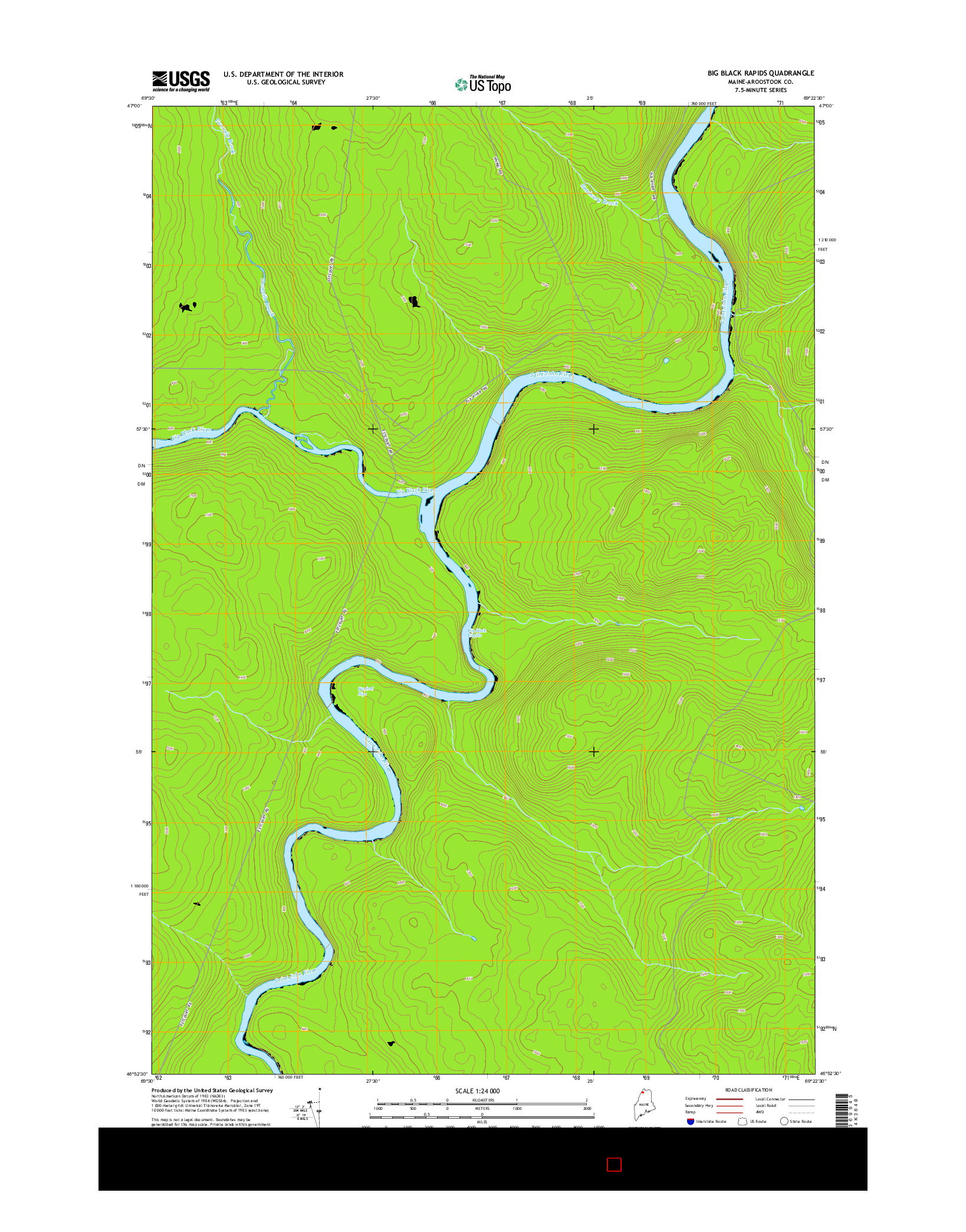 USGS US TOPO 7.5-MINUTE MAP FOR BIG BLACK RAPIDS, ME 2014