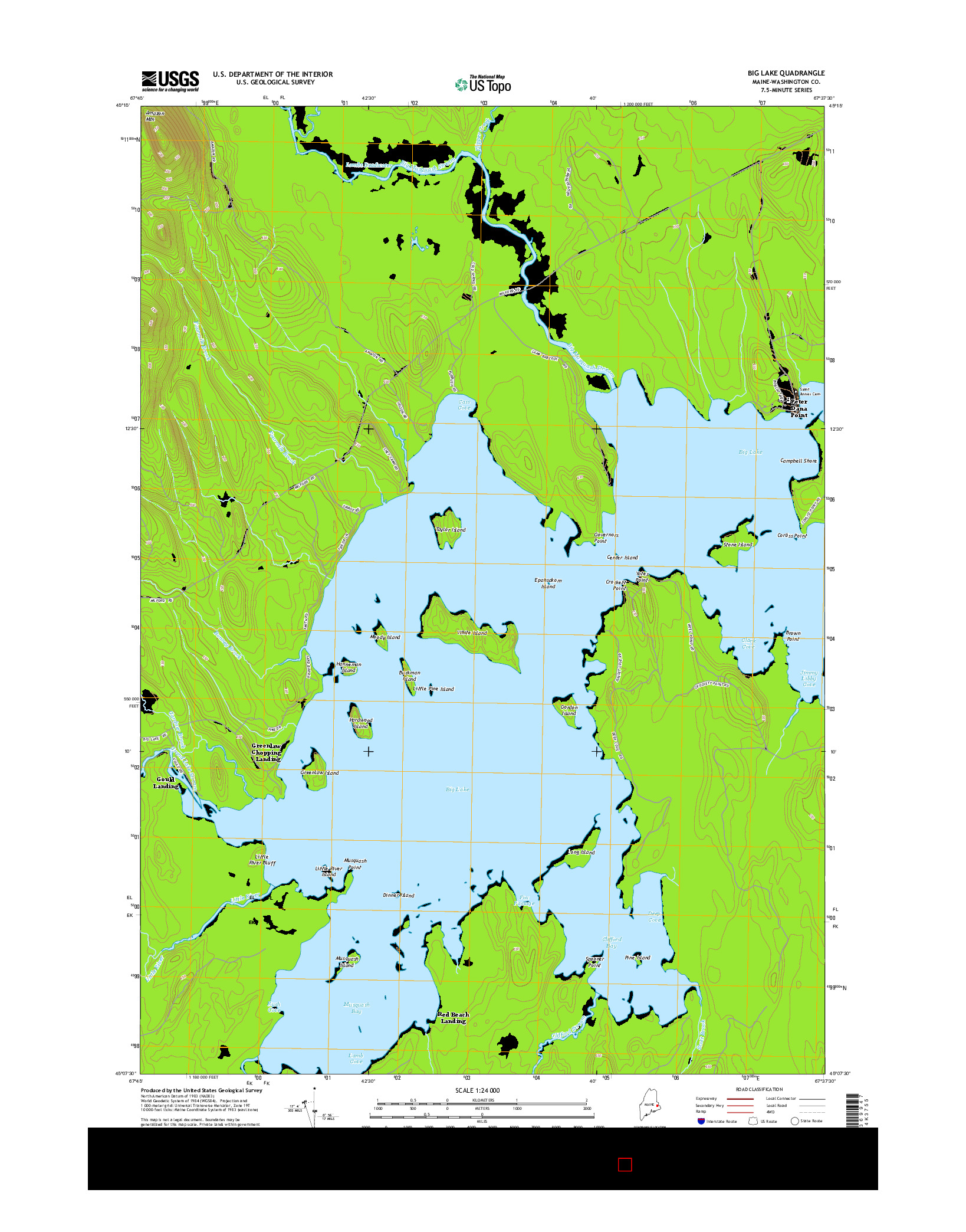 USGS US TOPO 7.5-MINUTE MAP FOR BIG LAKE, ME 2014