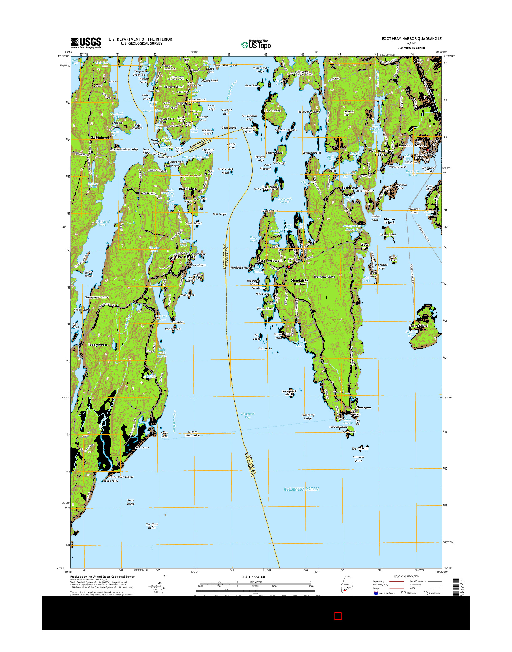 USGS US TOPO 7.5-MINUTE MAP FOR BOOTHBAY HARBOR, ME 2014