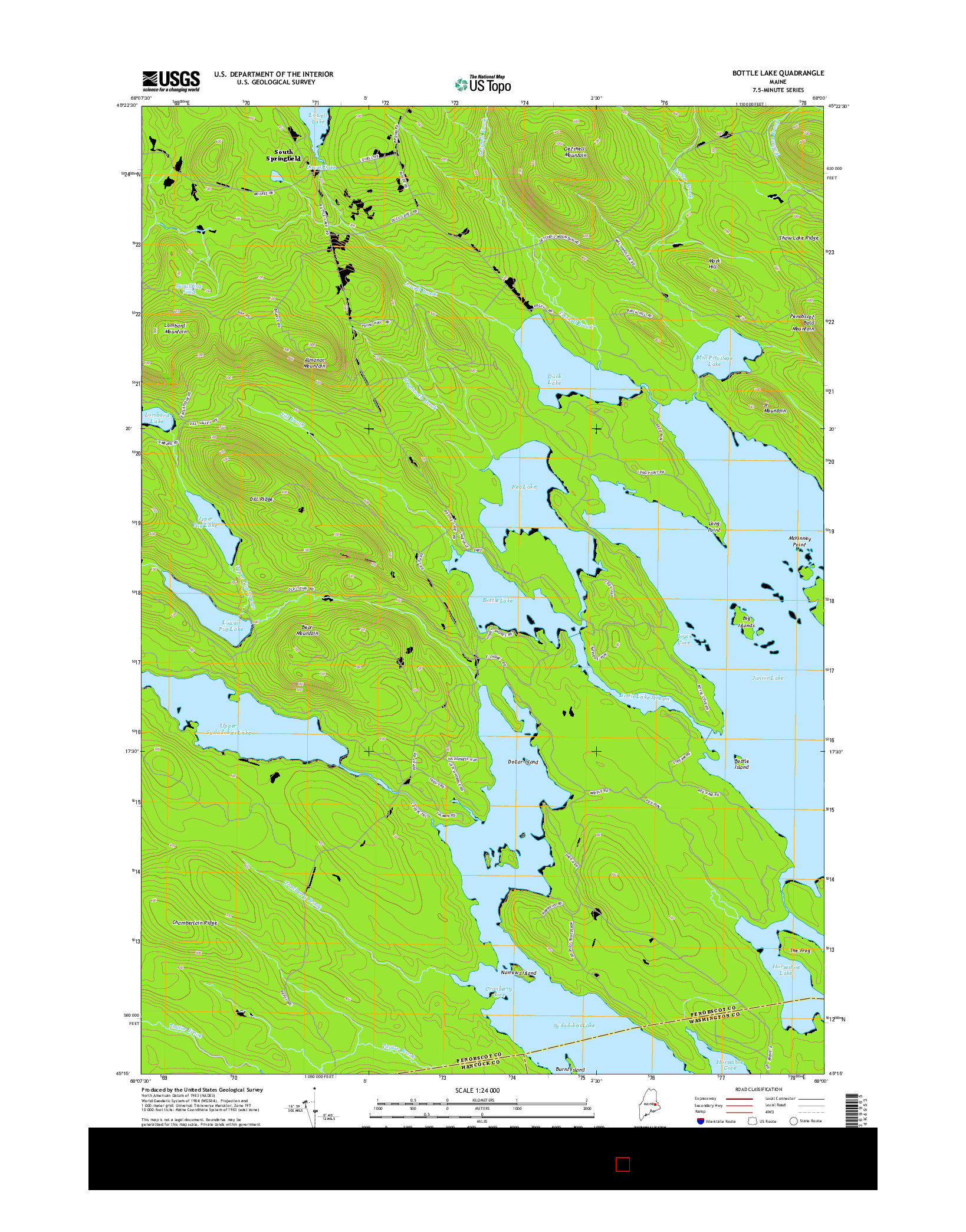 USGS US TOPO 7.5-MINUTE MAP FOR BOTTLE LAKE, ME 2014
