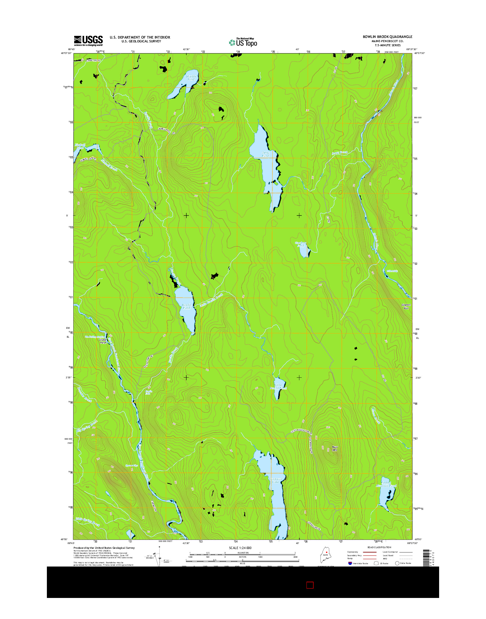 USGS US TOPO 7.5-MINUTE MAP FOR BOWLIN BROOK, ME 2014
