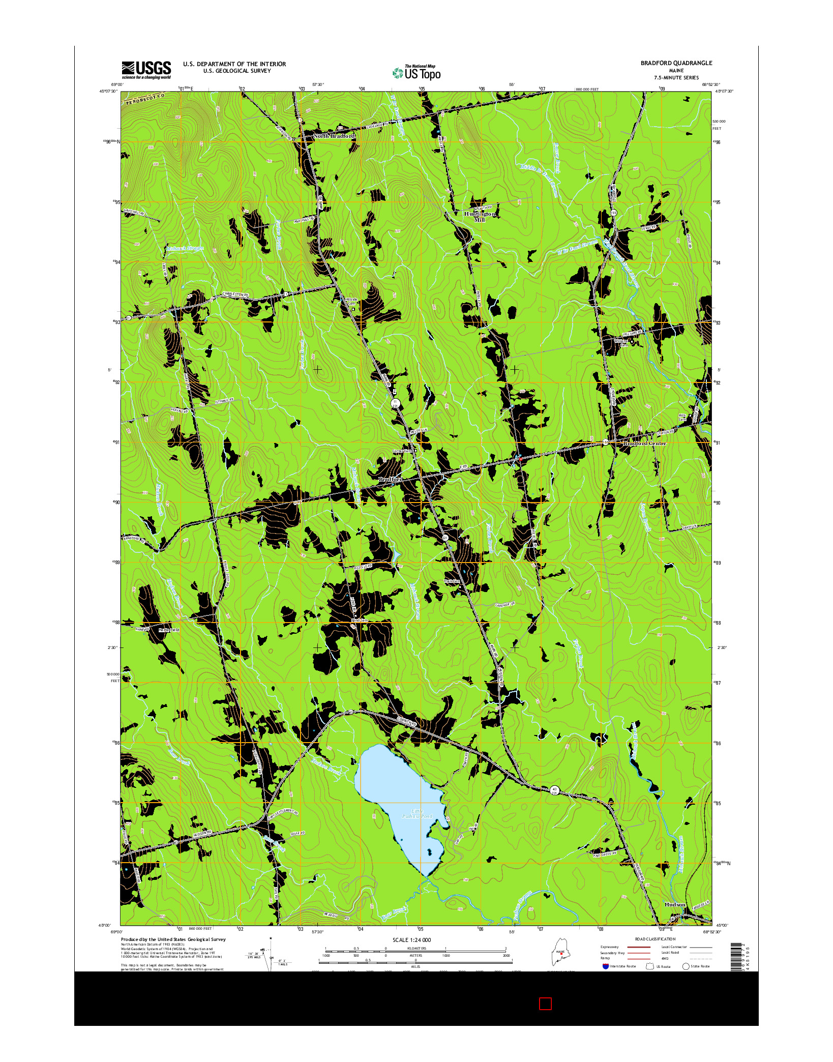 USGS US TOPO 7.5-MINUTE MAP FOR BRADFORD, ME 2014