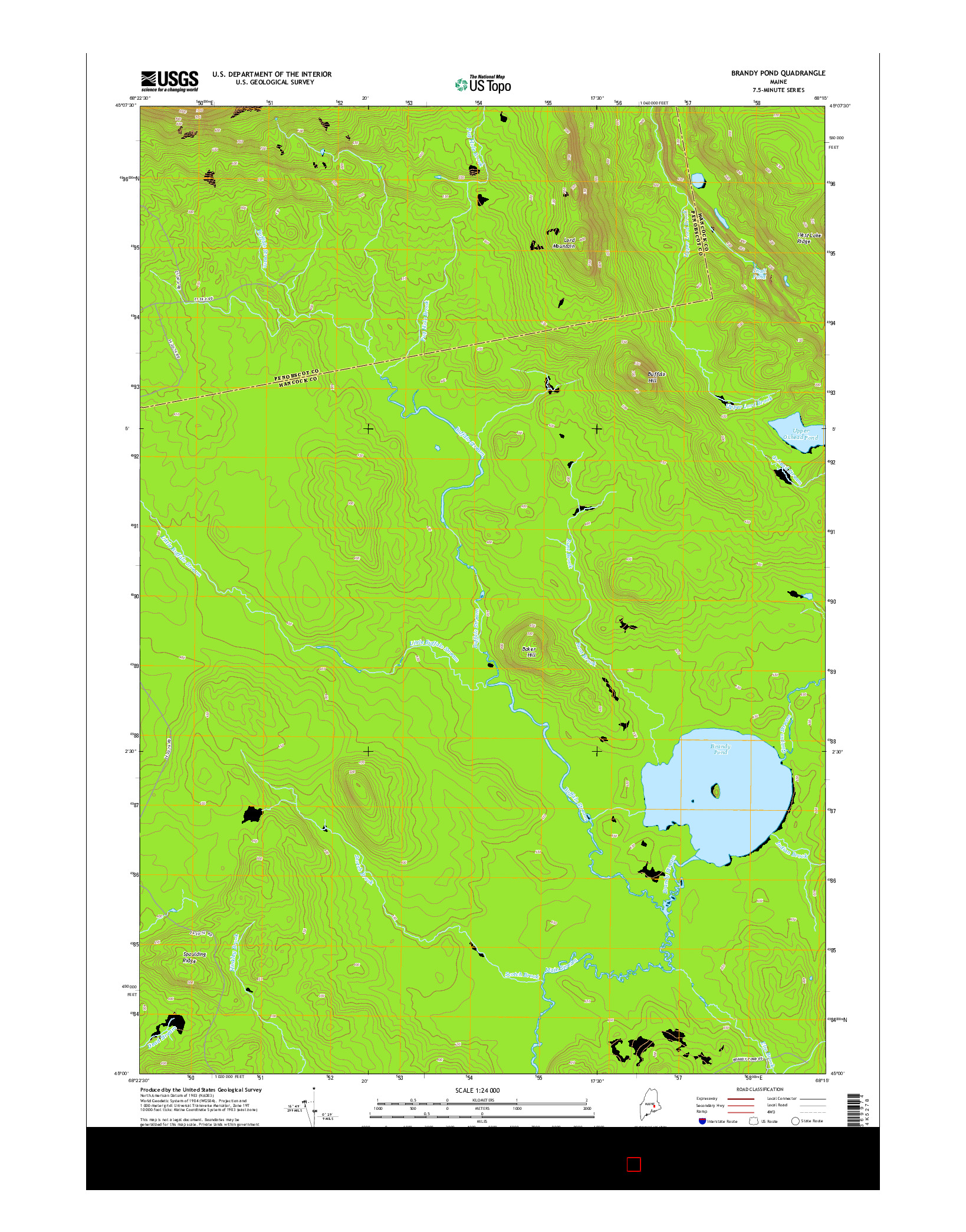 USGS US TOPO 7.5-MINUTE MAP FOR BRANDY POND, ME 2014
