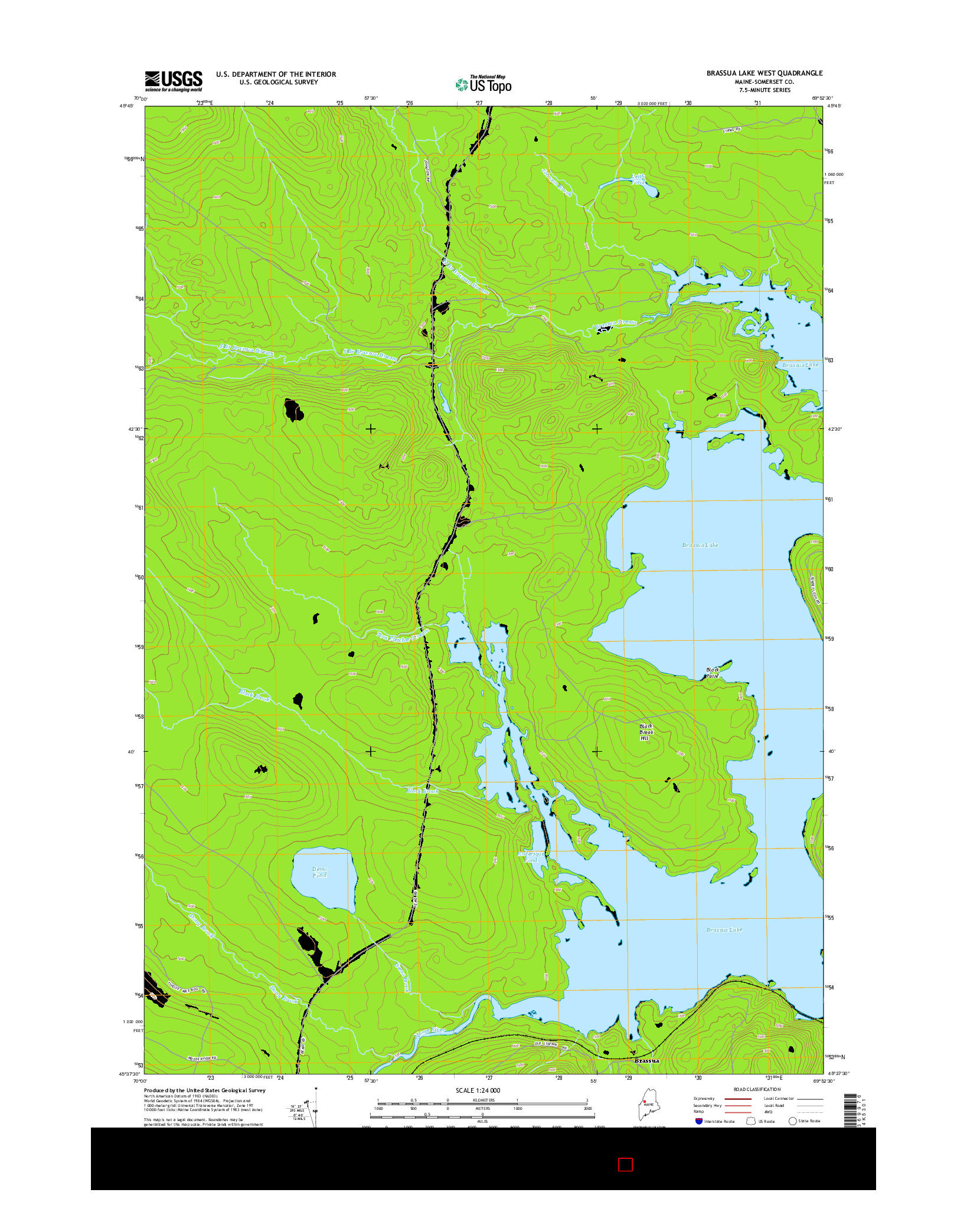 USGS US TOPO 7.5-MINUTE MAP FOR BRASSUA LAKE WEST, ME 2014
