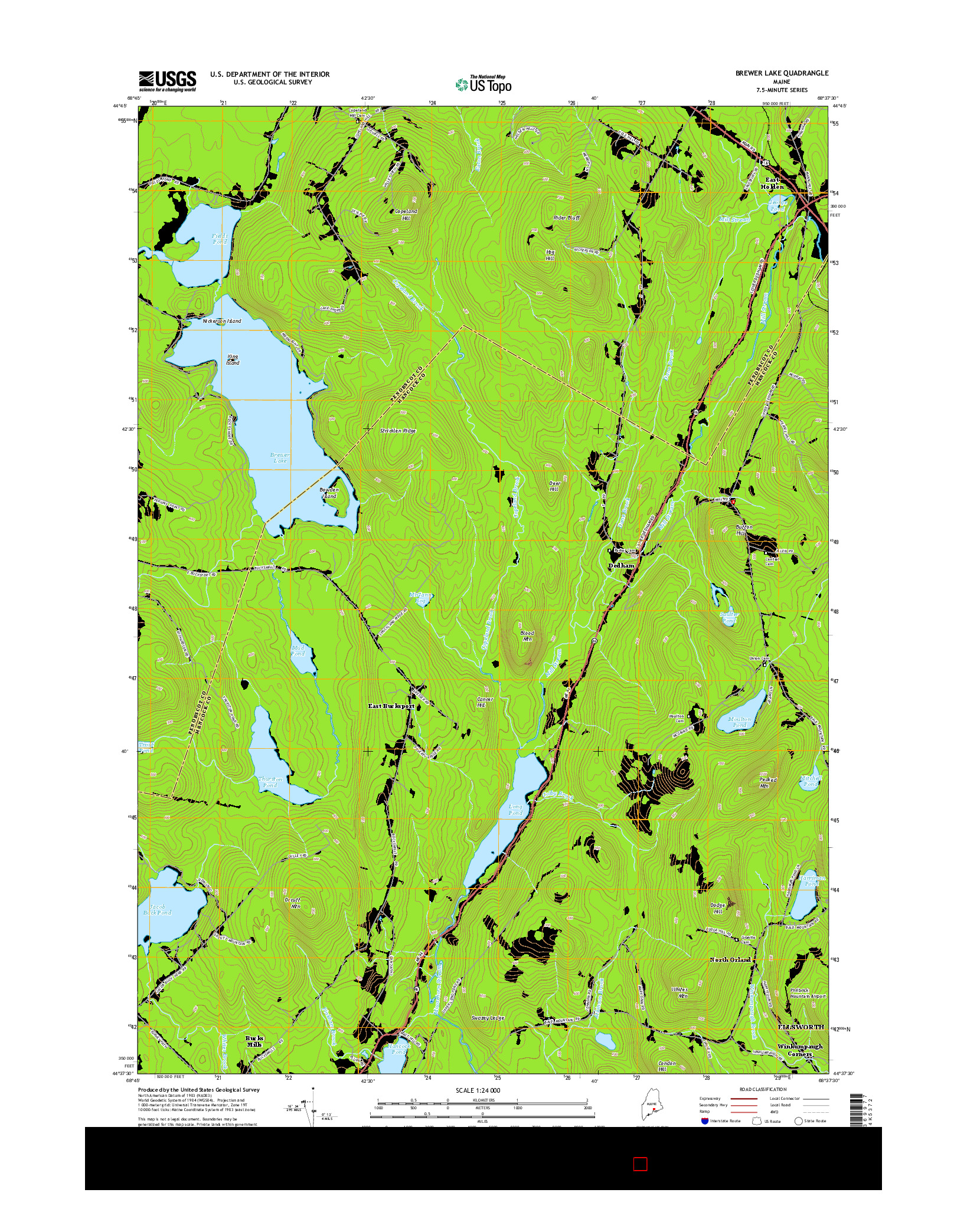 USGS US TOPO 7.5-MINUTE MAP FOR BREWER LAKE, ME 2014