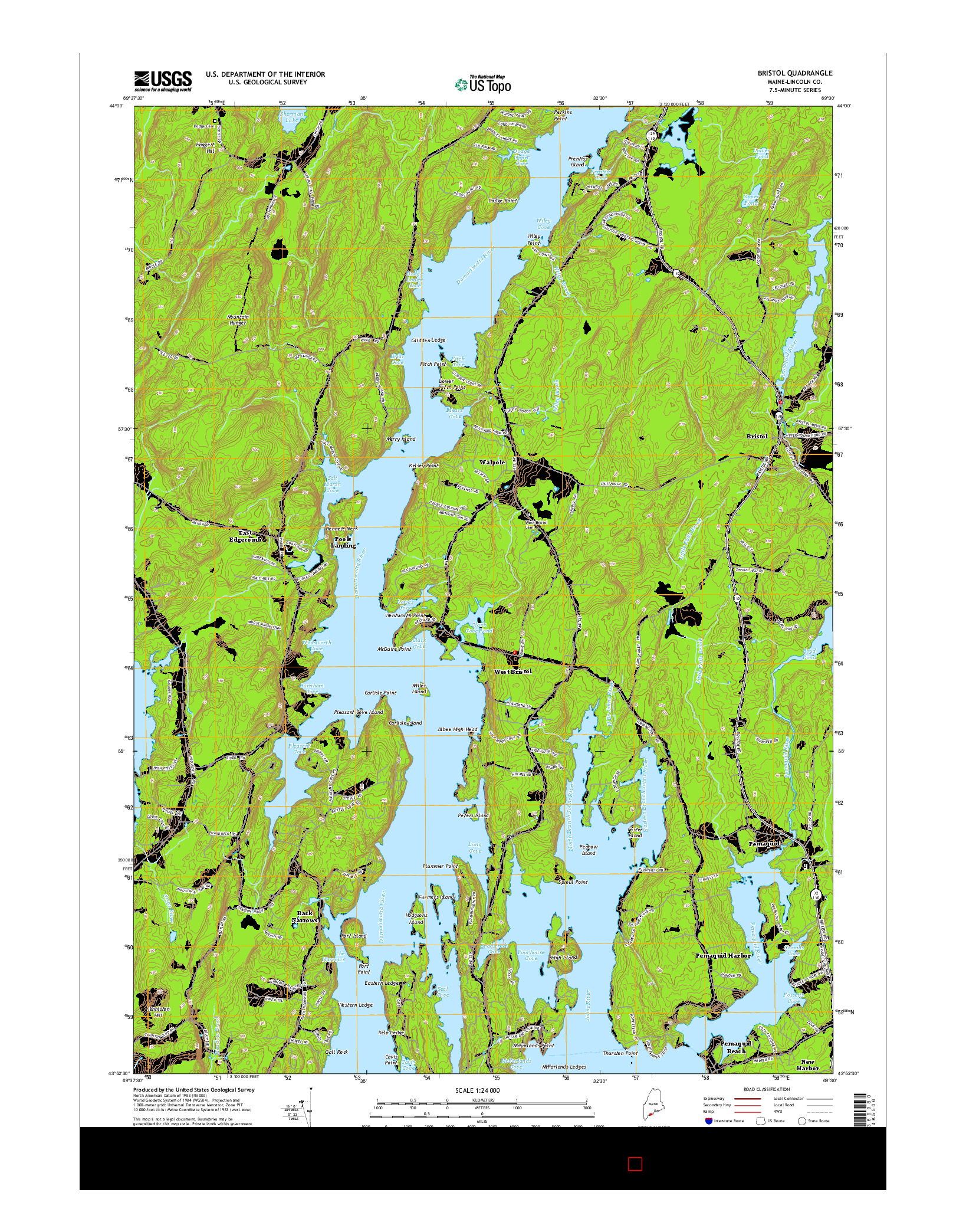 USGS US TOPO 7.5-MINUTE MAP FOR BRISTOL, ME 2014