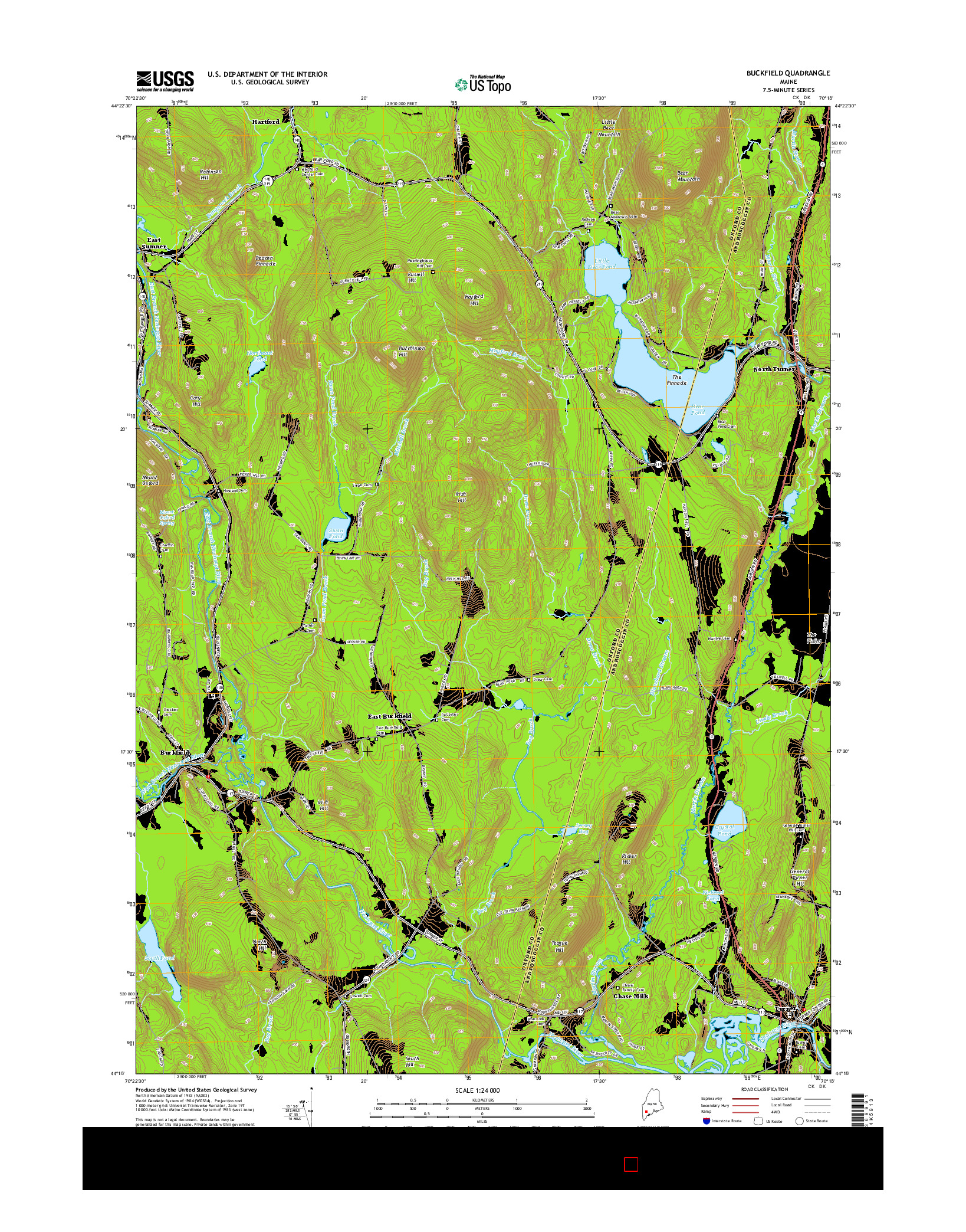 USGS US TOPO 7.5-MINUTE MAP FOR BUCKFIELD, ME 2014