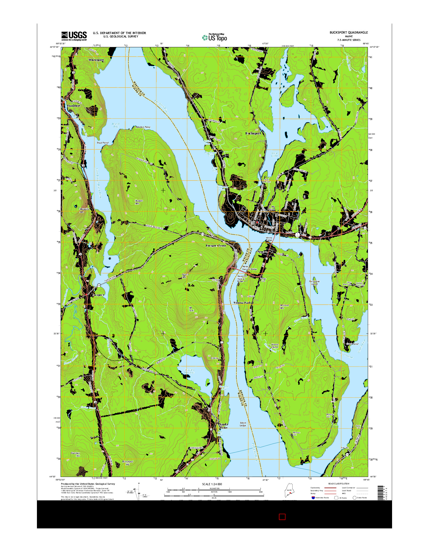 USGS US TOPO 7.5-MINUTE MAP FOR BUCKSPORT, ME 2014