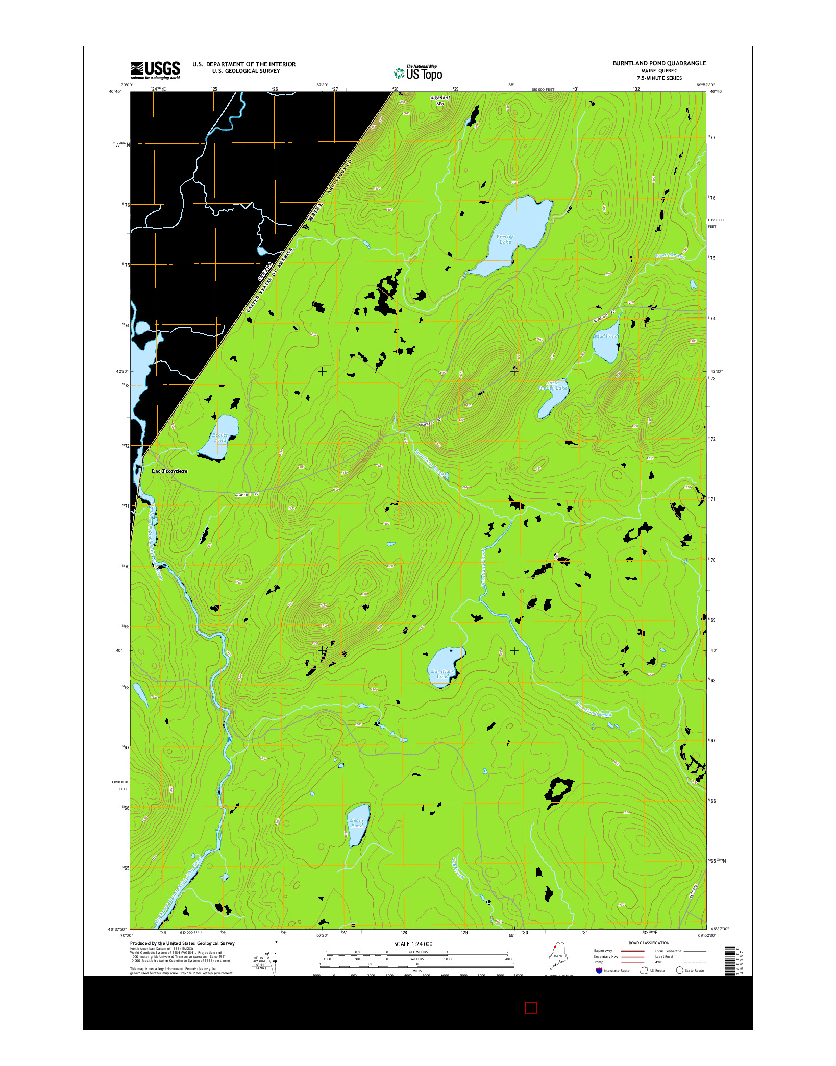 USGS US TOPO 7.5-MINUTE MAP FOR BURNTLAND POND, ME-QC 2014