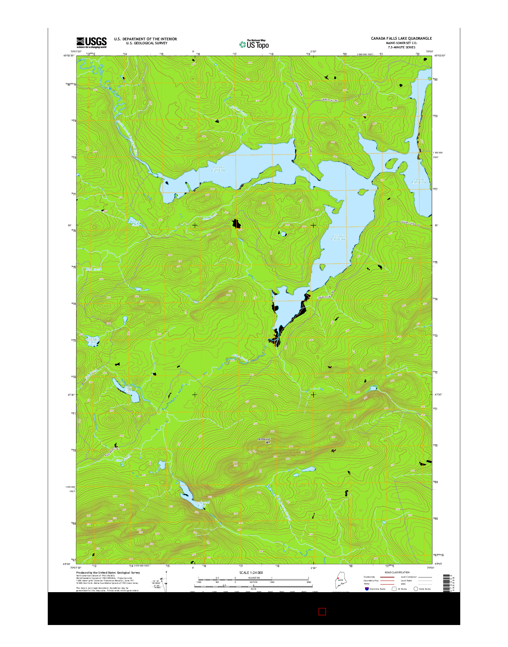 USGS US TOPO 7.5-MINUTE MAP FOR CANADA FALLS LAKE, ME 2014