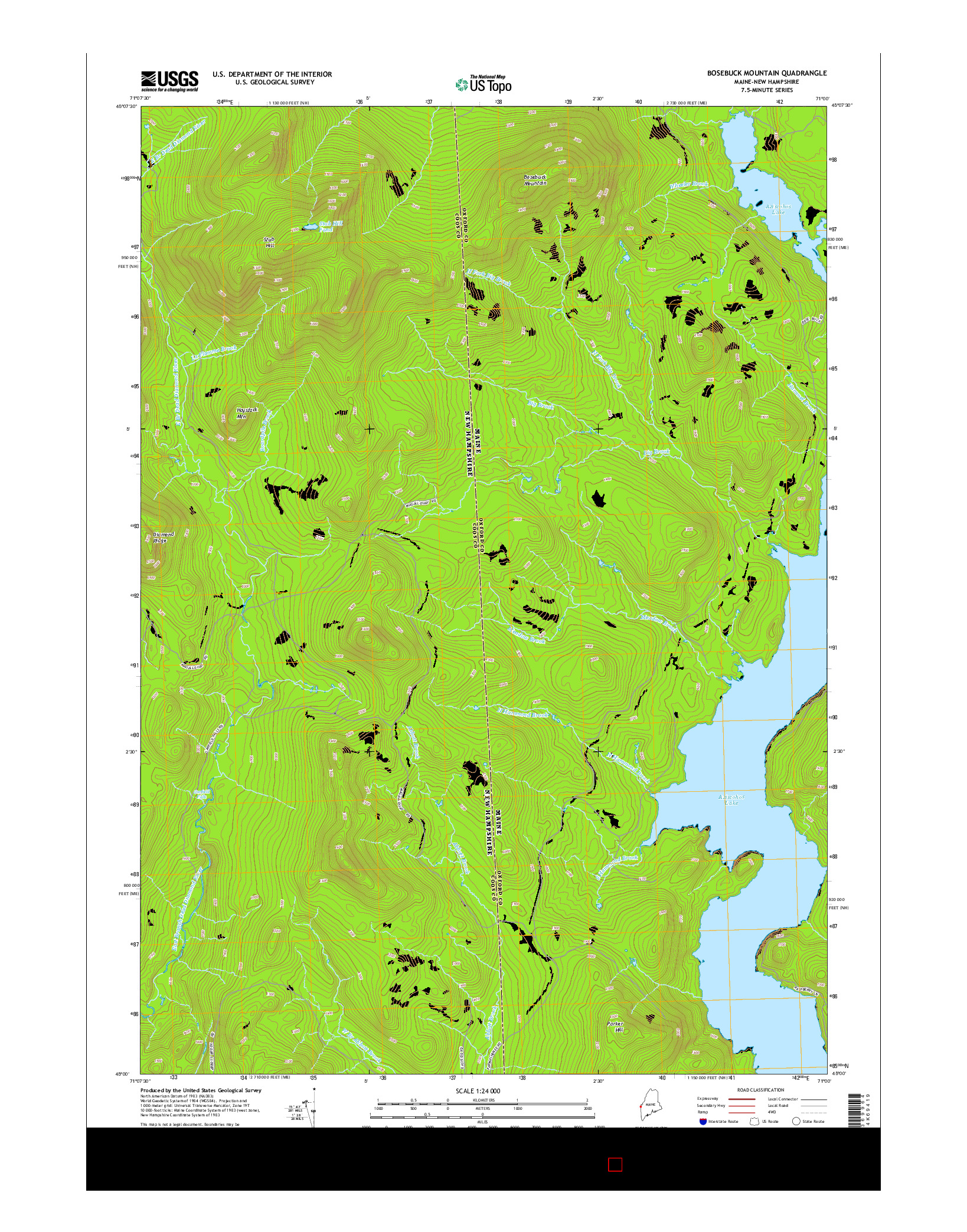 USGS US TOPO 7.5-MINUTE MAP FOR BOSEBUCK MOUNTAIN, ME-NH 2014