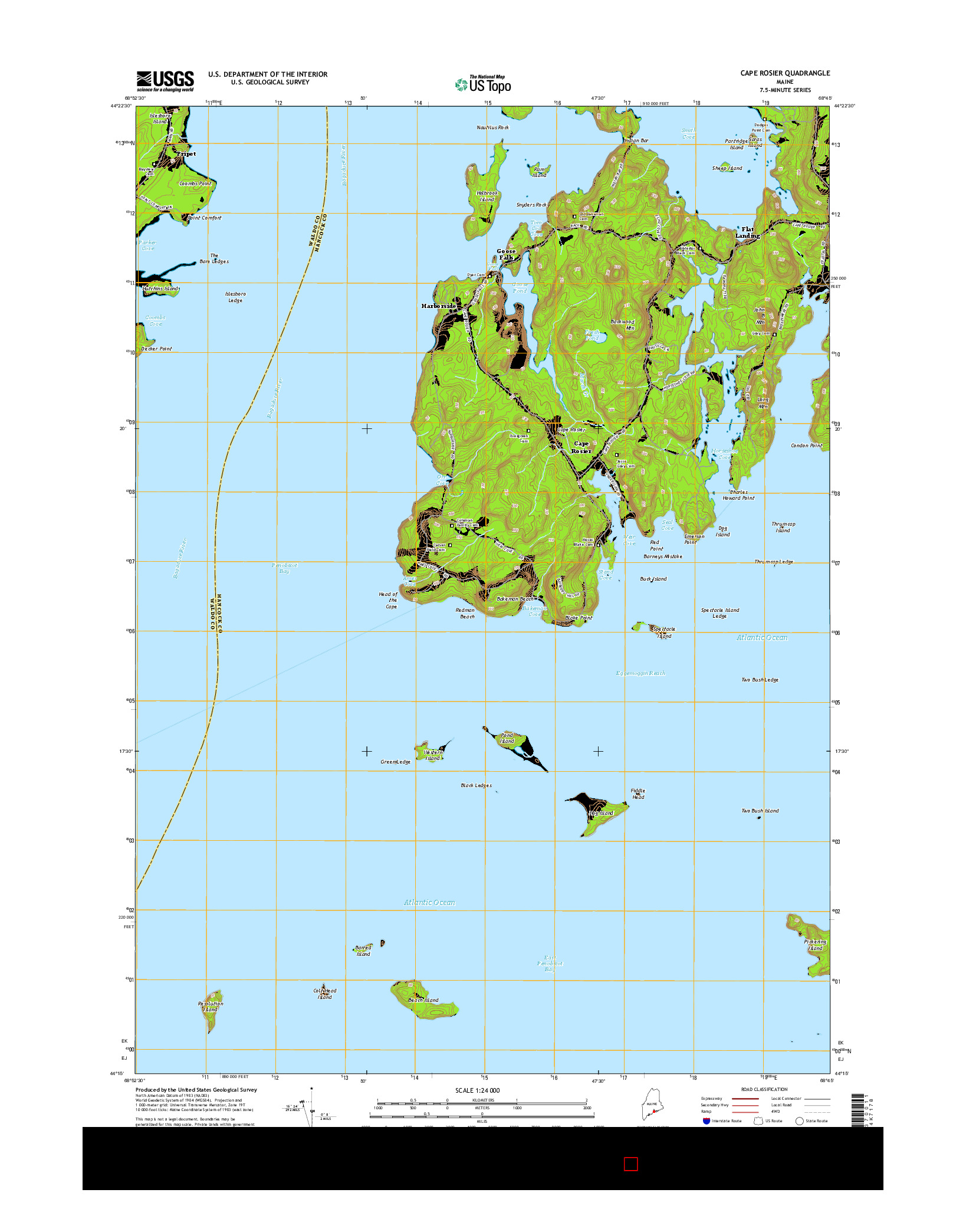 USGS US TOPO 7.5-MINUTE MAP FOR CAPE ROSIER, ME 2014