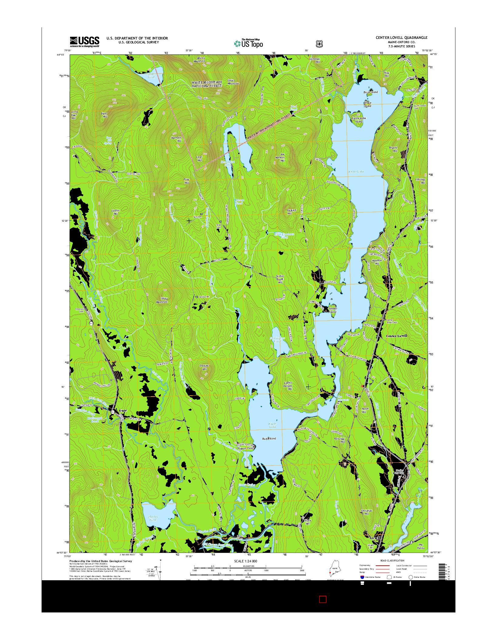 USGS US TOPO 7.5-MINUTE MAP FOR CENTER LOVELL, ME 2014