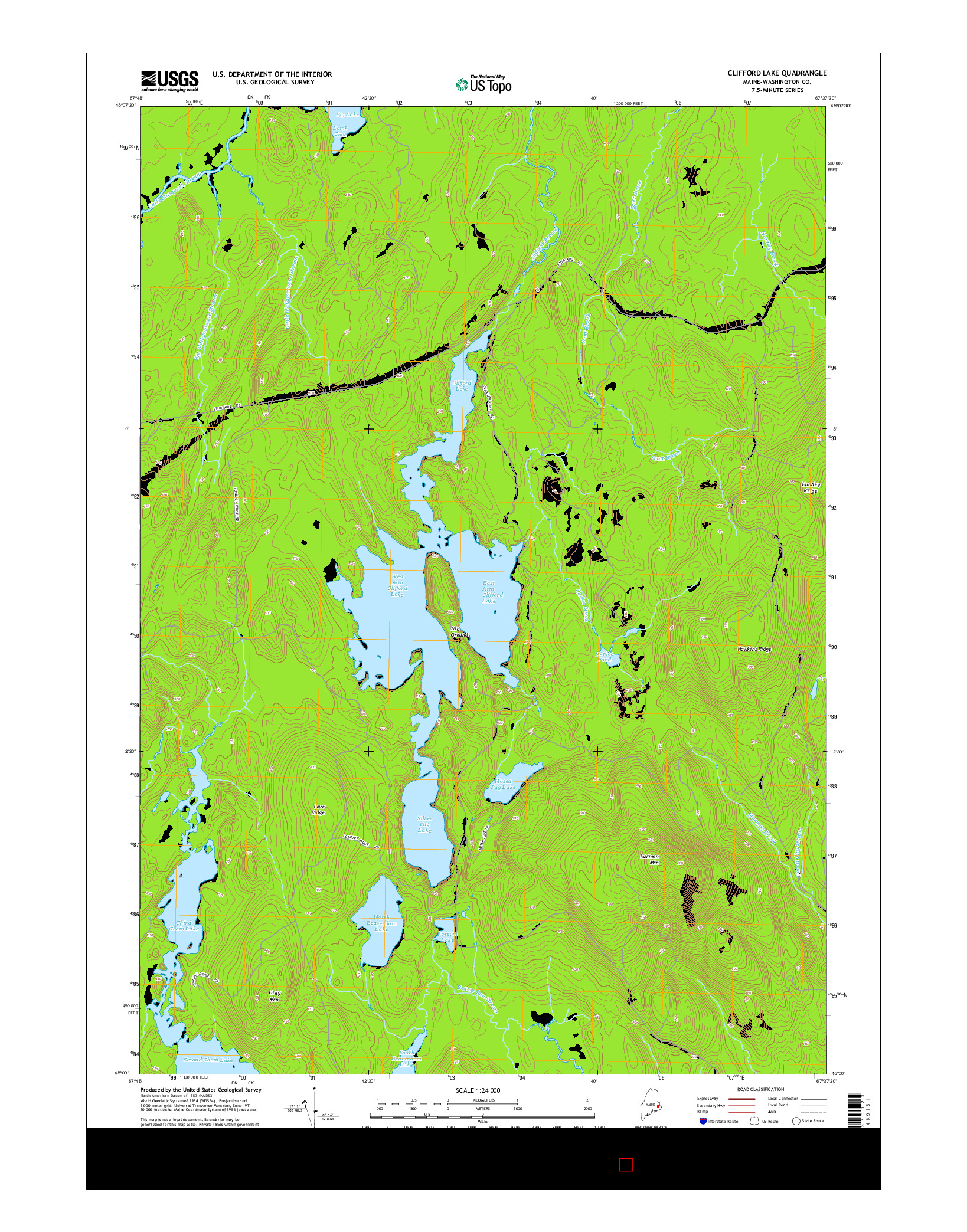 USGS US TOPO 7.5-MINUTE MAP FOR CLIFFORD LAKE, ME 2014
