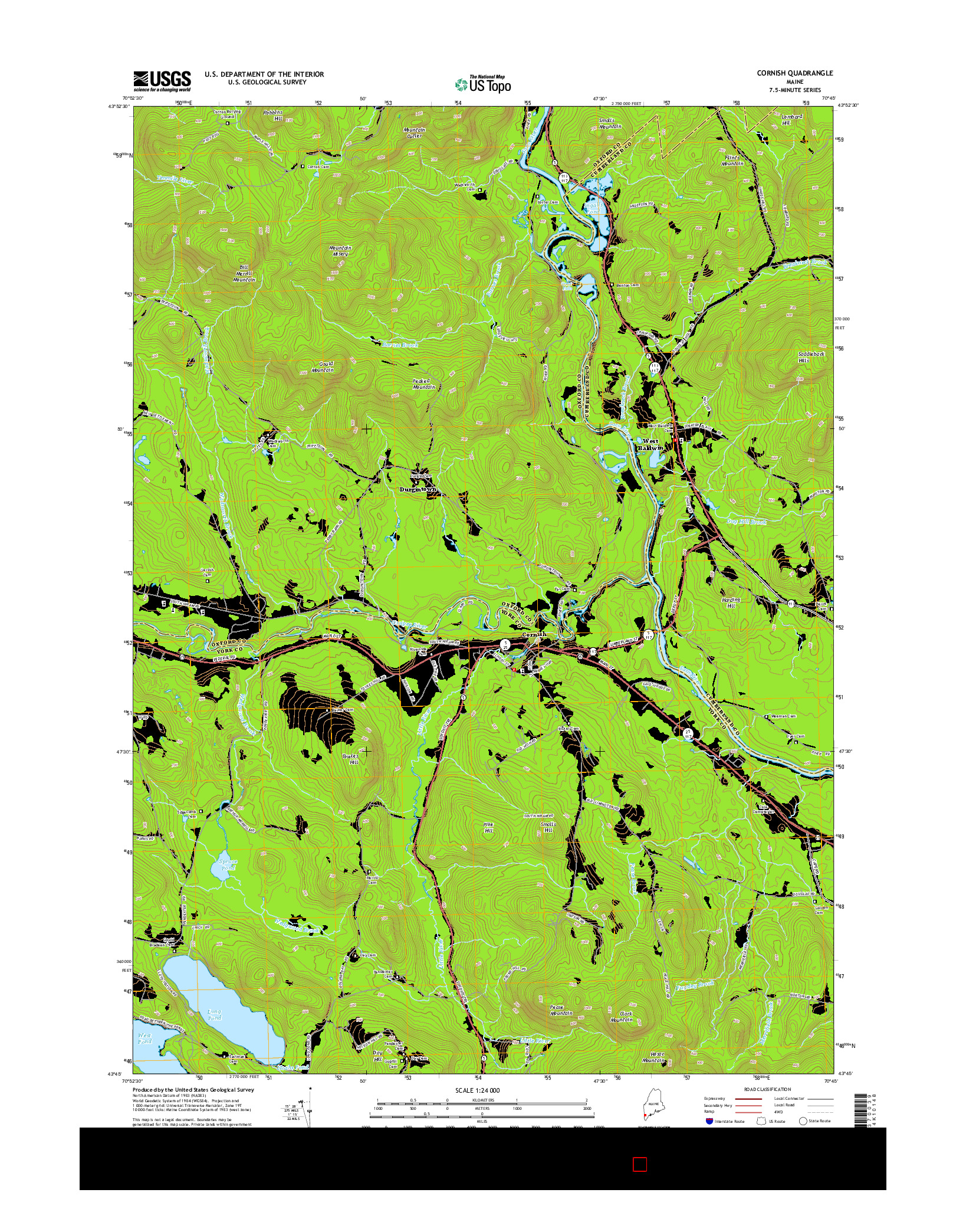 USGS US TOPO 7.5-MINUTE MAP FOR CORNISH, ME 2014