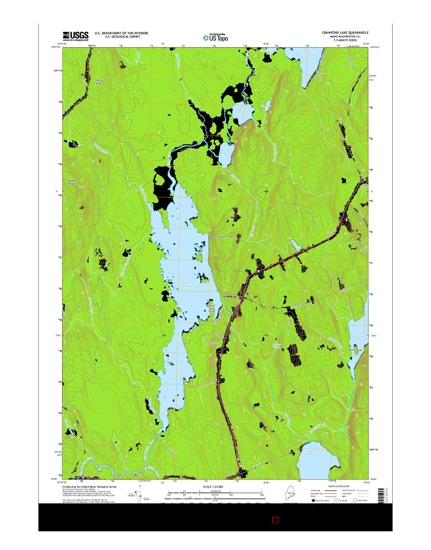 USGS US TOPO 7.5-MINUTE MAP FOR CRAWFORD LAKE, ME 2014