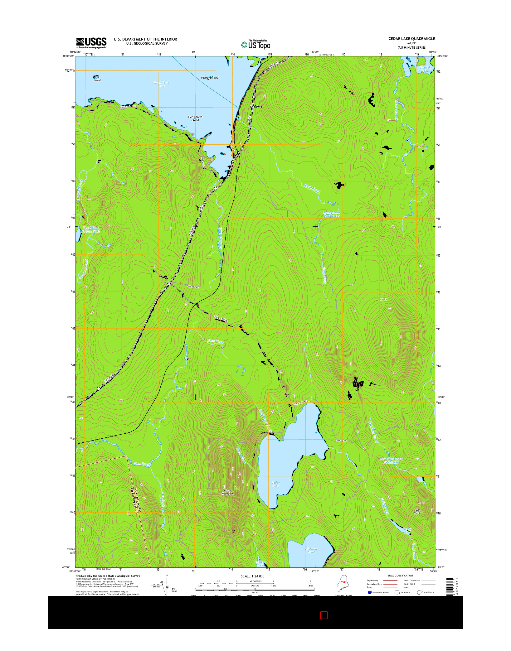 USGS US TOPO 7.5-MINUTE MAP FOR CEDAR LAKE, ME 2014