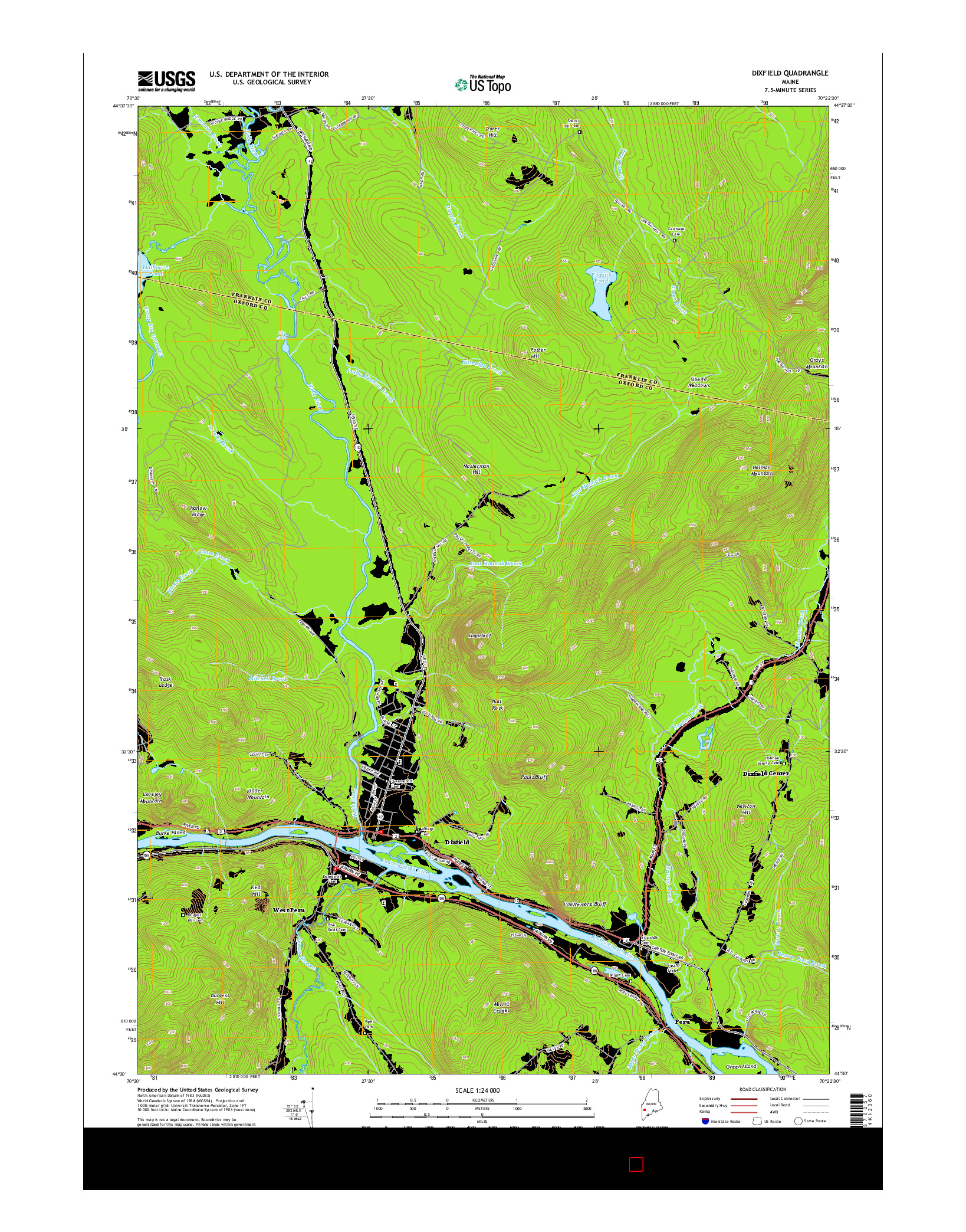 USGS US TOPO 7.5-MINUTE MAP FOR DIXFIELD, ME 2014