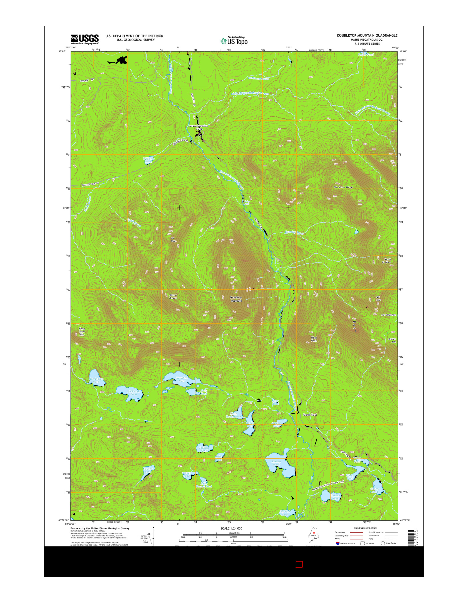 USGS US TOPO 7.5-MINUTE MAP FOR DOUBLETOP MOUNTAIN, ME 2014