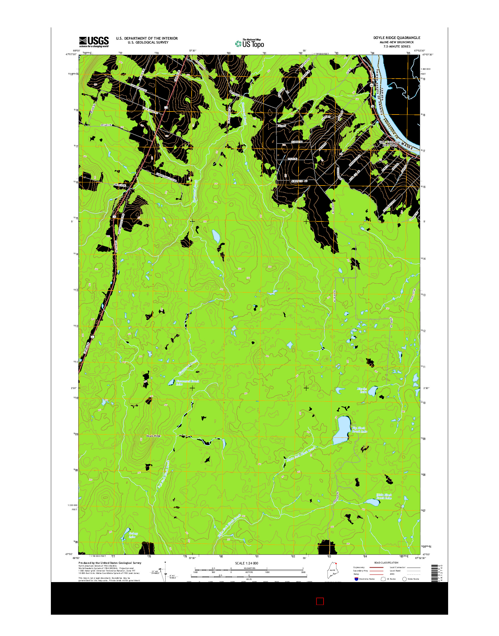 USGS US TOPO 7.5-MINUTE MAP FOR DOYLE RIDGE, ME-NB 2014