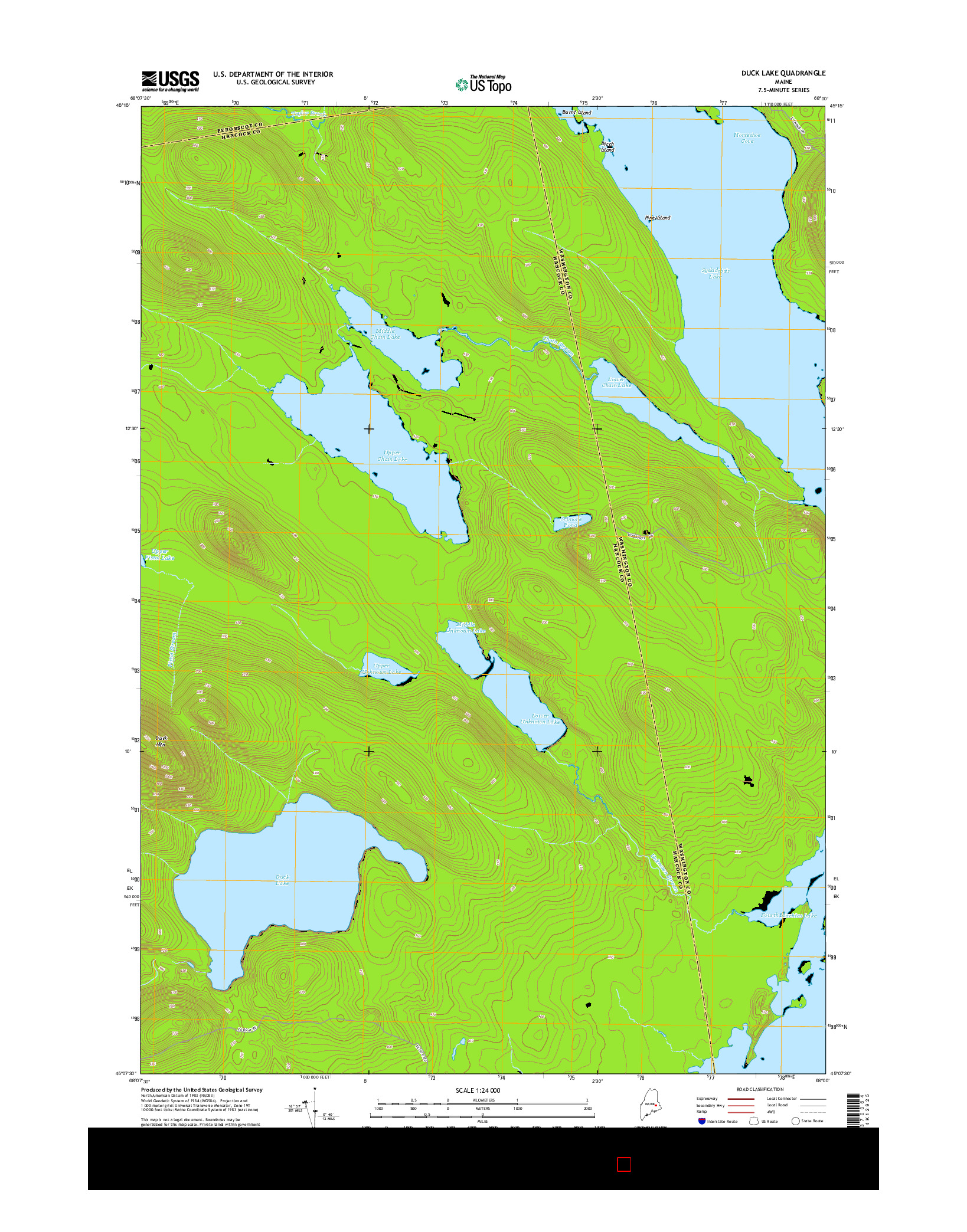 USGS US TOPO 7.5-MINUTE MAP FOR DUCK LAKE, ME 2014
