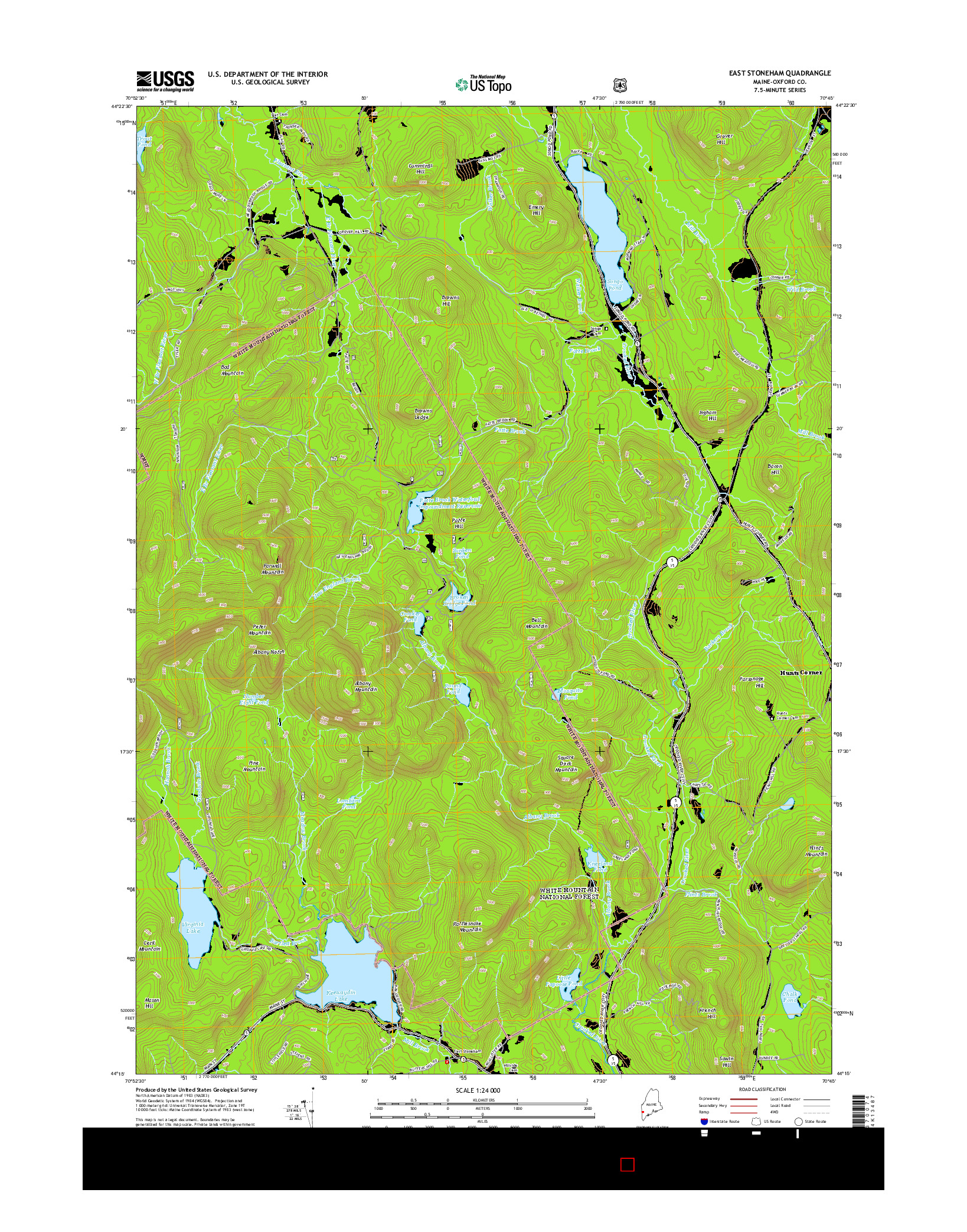 USGS US TOPO 7.5-MINUTE MAP FOR EAST STONEHAM, ME 2014