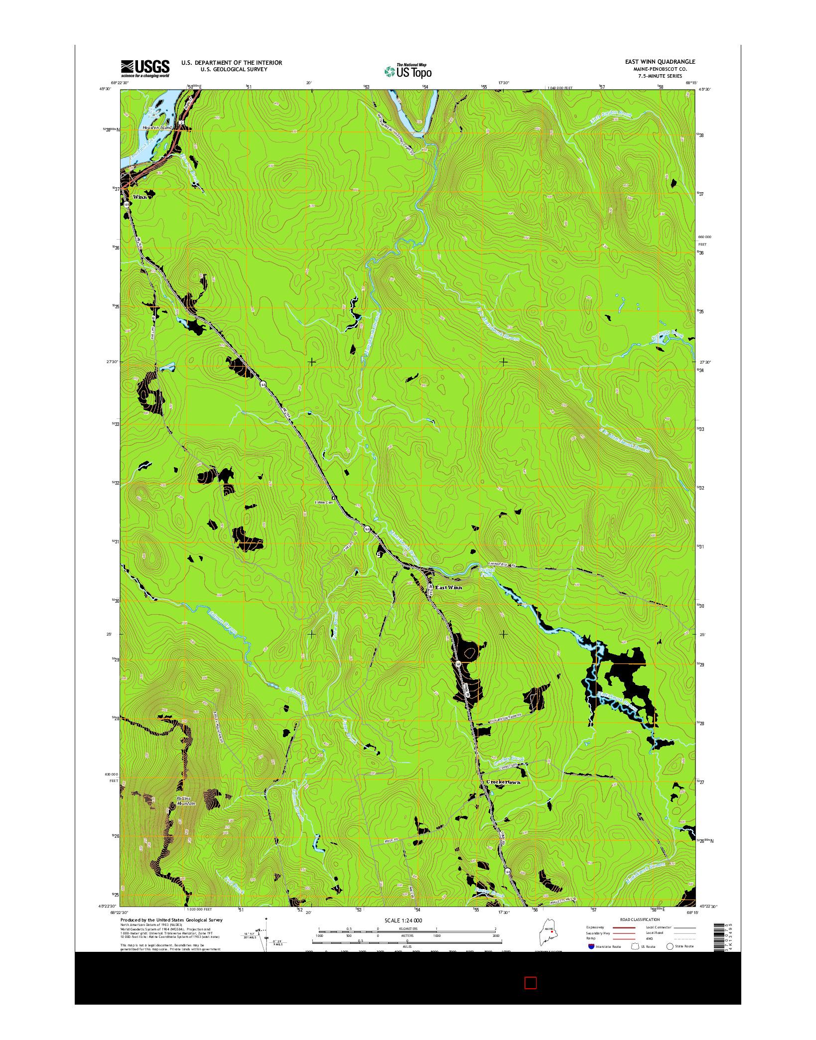 USGS US TOPO 7.5-MINUTE MAP FOR EAST WINN, ME 2014