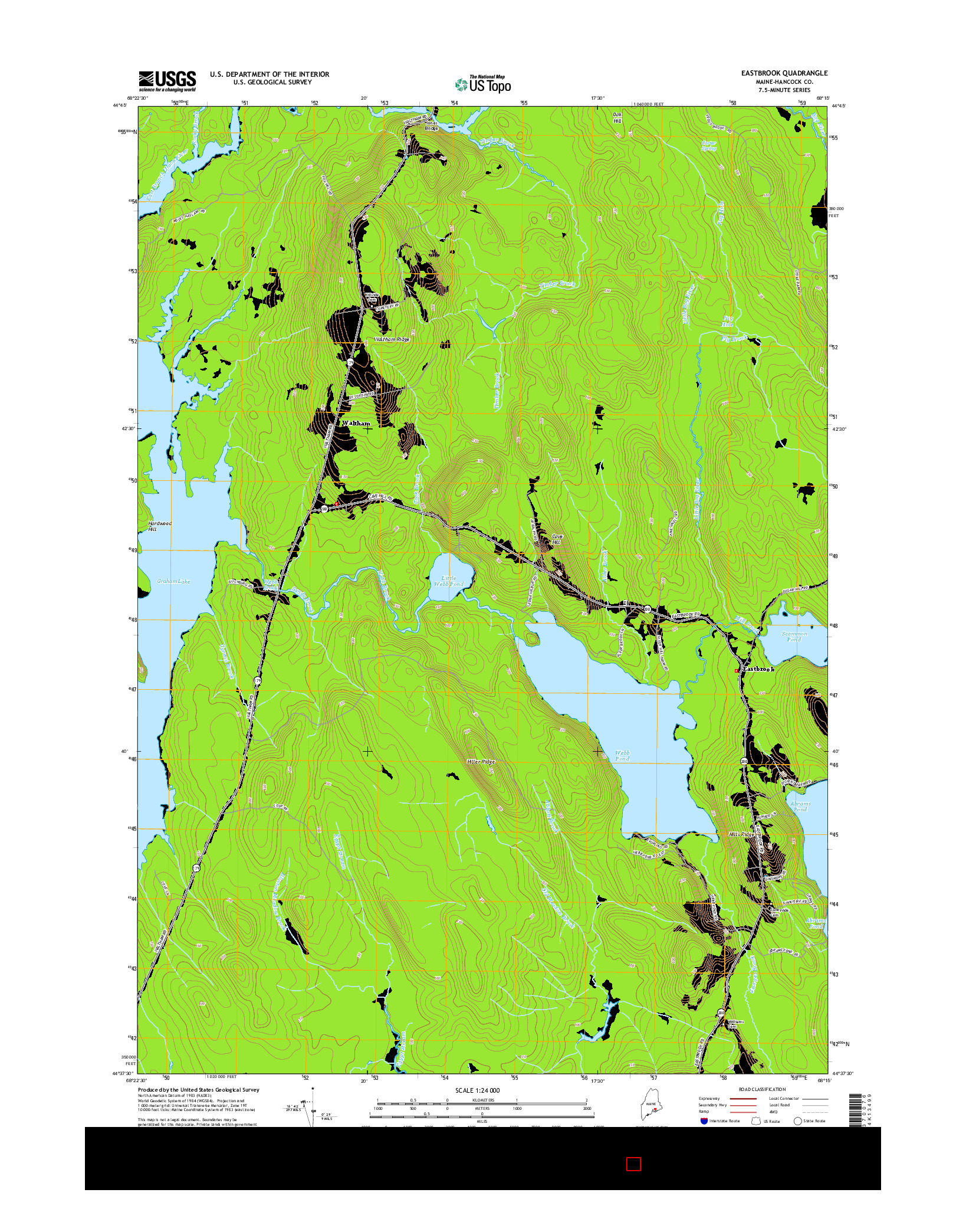 USGS US TOPO 7.5-MINUTE MAP FOR EASTBROOK, ME 2014