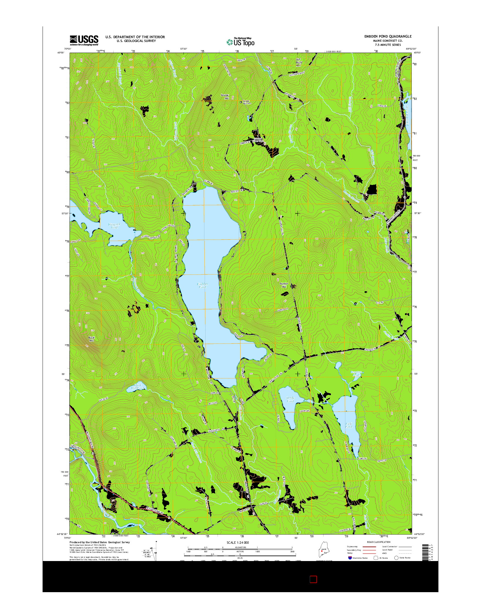 USGS US TOPO 7.5-MINUTE MAP FOR EMBDEN POND, ME 2014