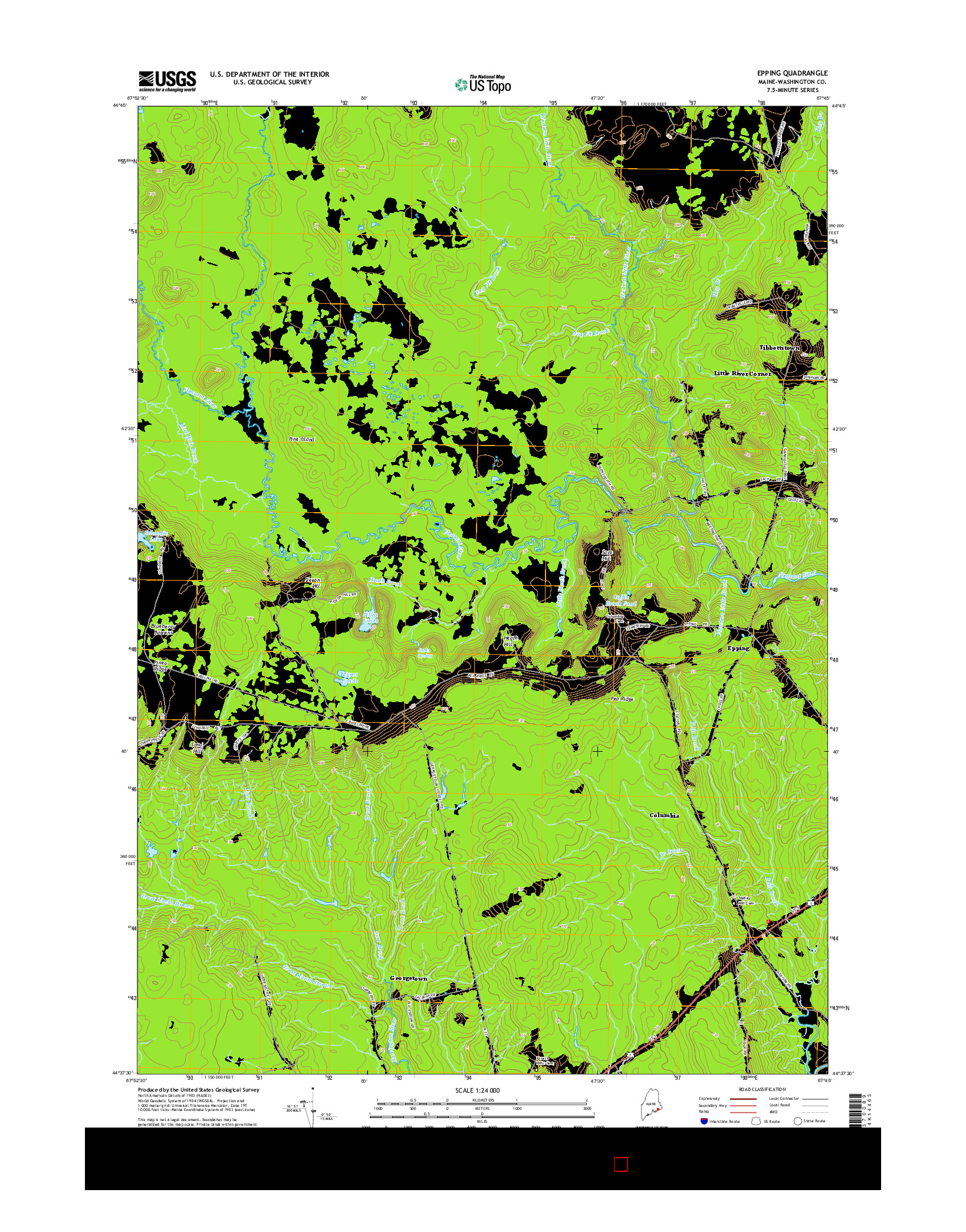 USGS US TOPO 7.5-MINUTE MAP FOR EPPING, ME 2014