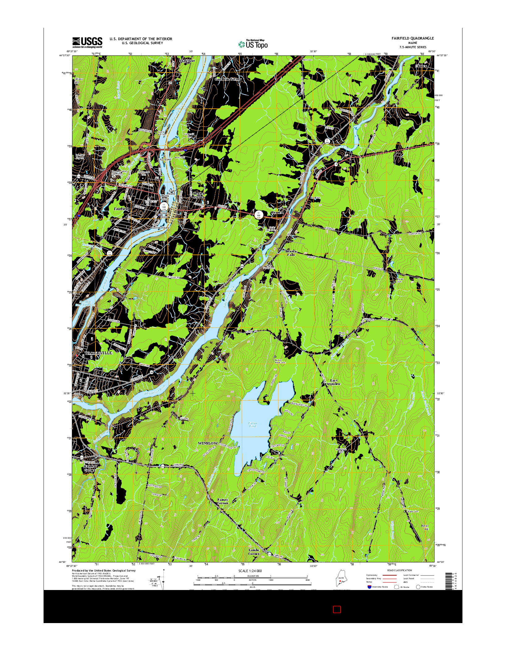 USGS US TOPO 7.5-MINUTE MAP FOR FAIRFIELD, ME 2014