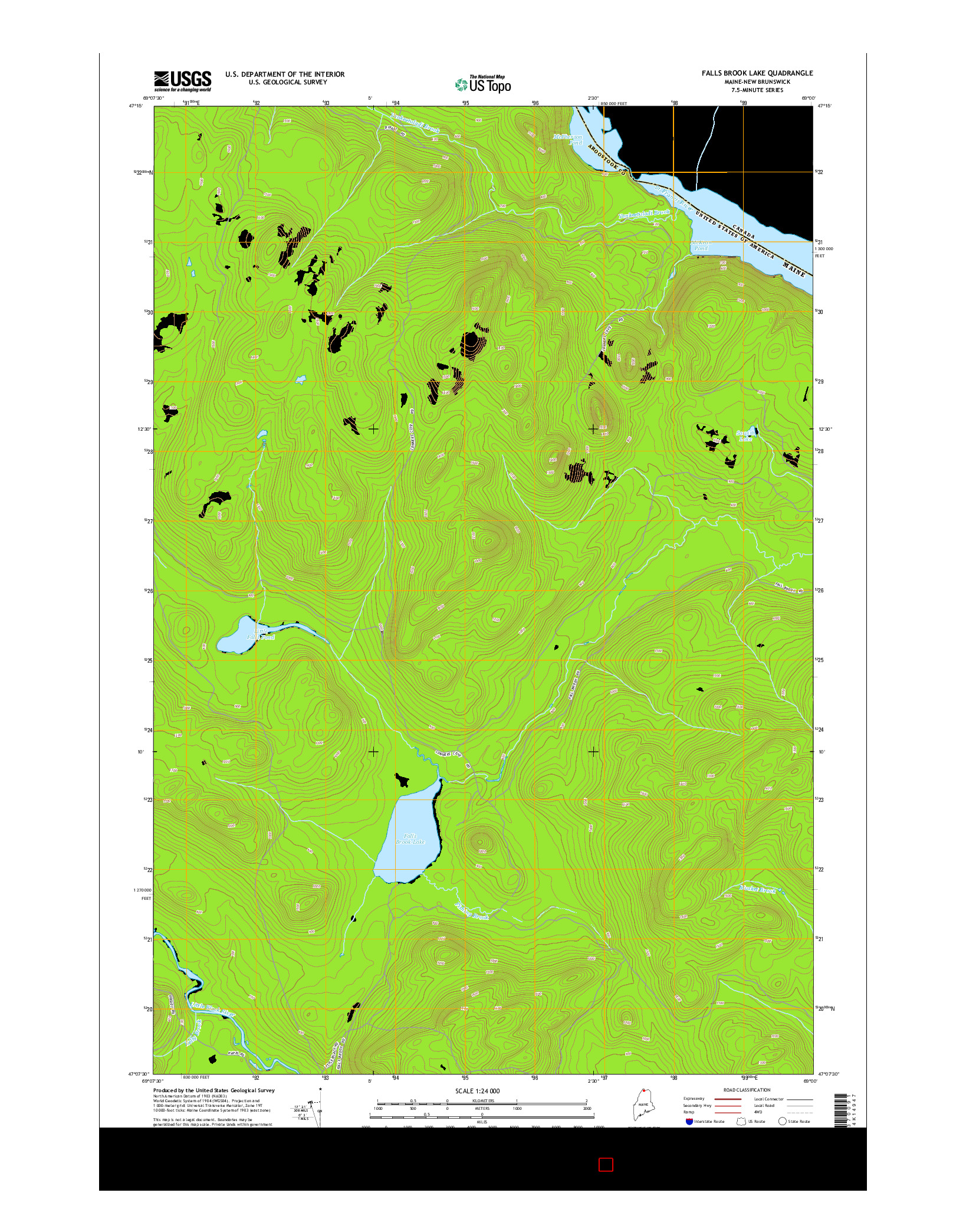 USGS US TOPO 7.5-MINUTE MAP FOR FALLS BROOK LAKE, ME-NB 2014