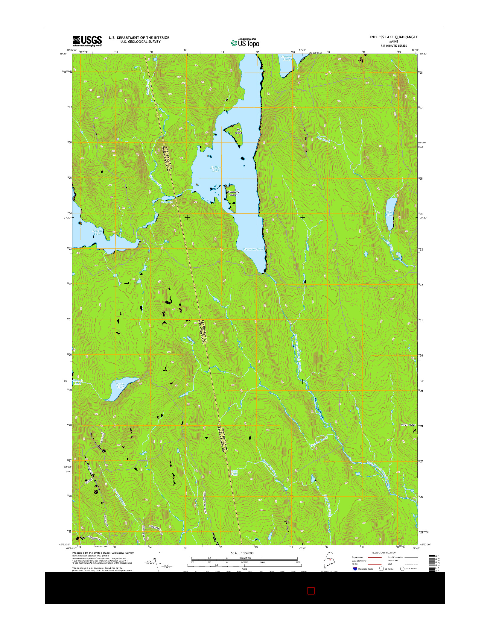 USGS US TOPO 7.5-MINUTE MAP FOR ENDLESS LAKE, ME 2014