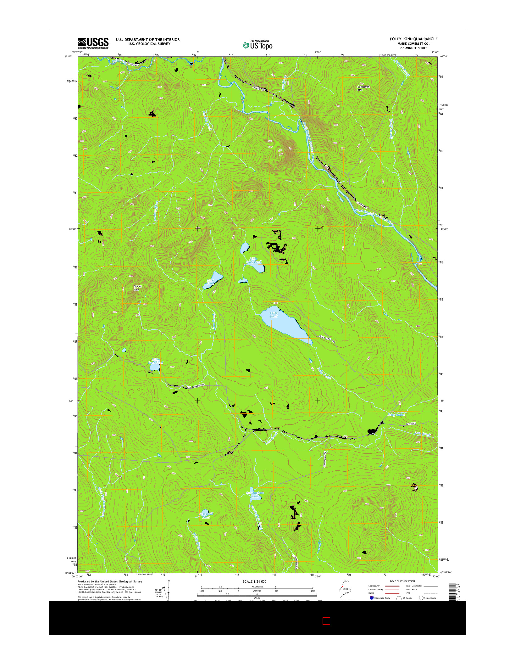 USGS US TOPO 7.5-MINUTE MAP FOR FOLEY POND, ME 2014