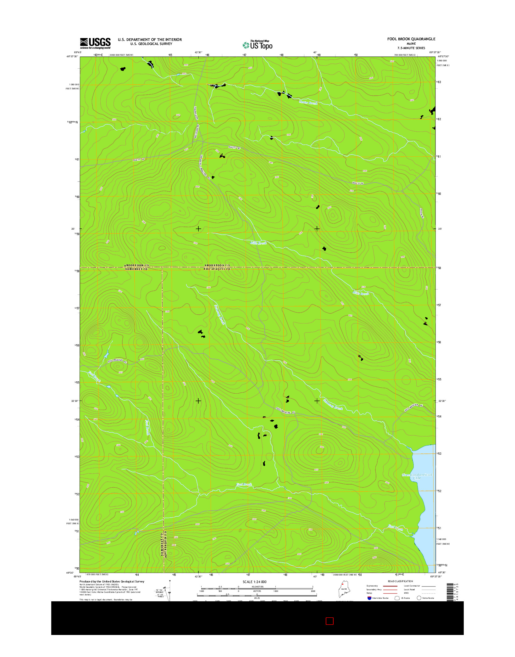 USGS US TOPO 7.5-MINUTE MAP FOR FOOL BROOK, ME 2014