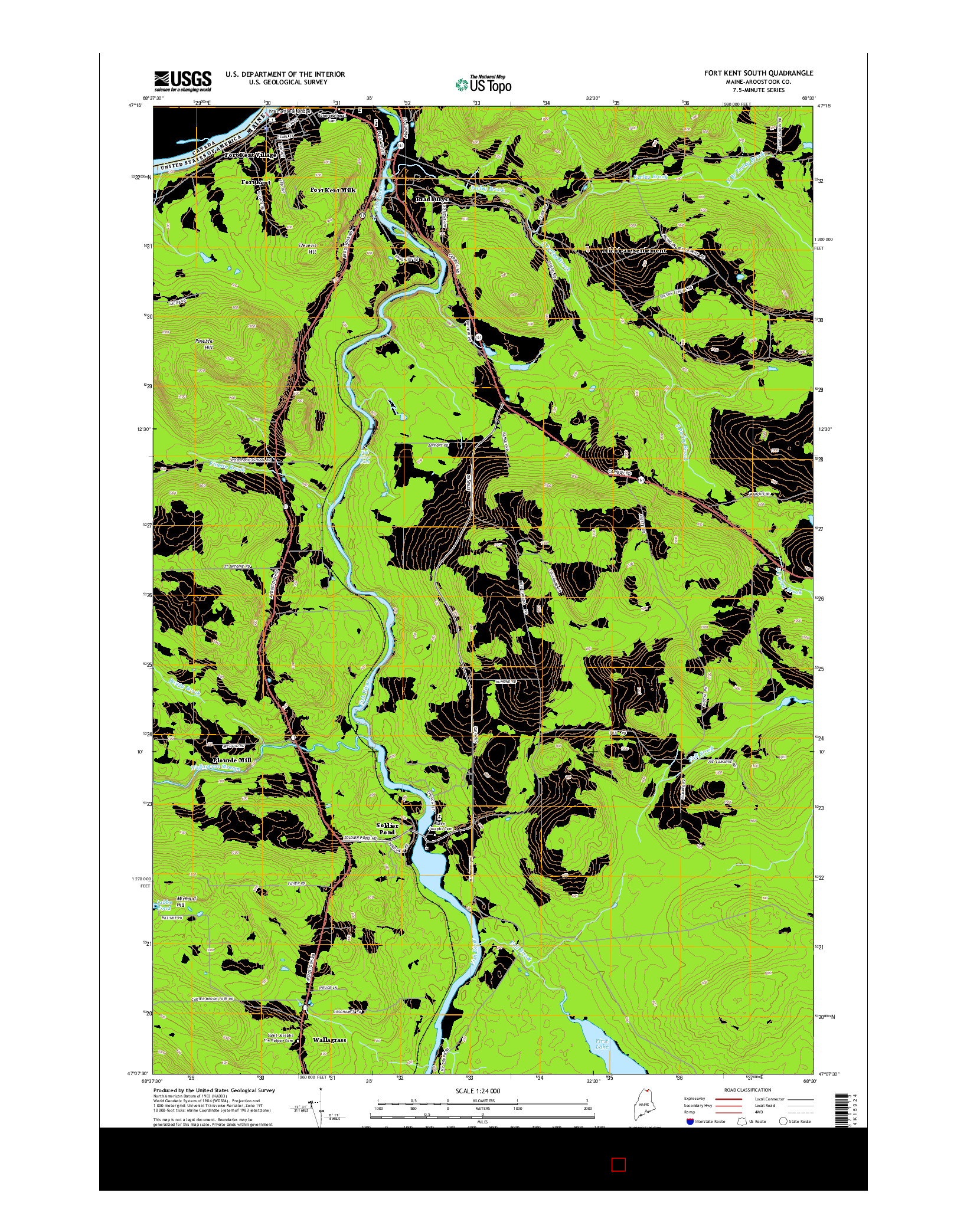 USGS US TOPO 7.5-MINUTE MAP FOR FORT KENT SOUTH, ME 2014