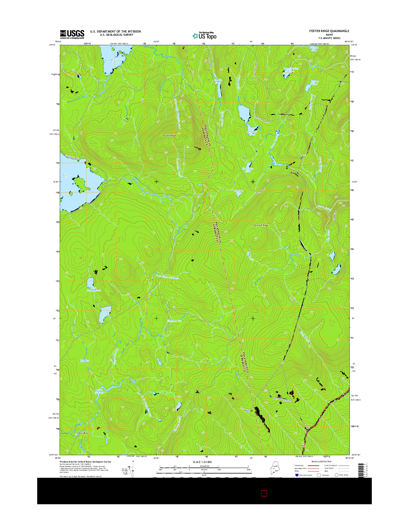 USGS US TOPO 7.5-MINUTE MAP FOR FOSTER RIDGE, ME 2014