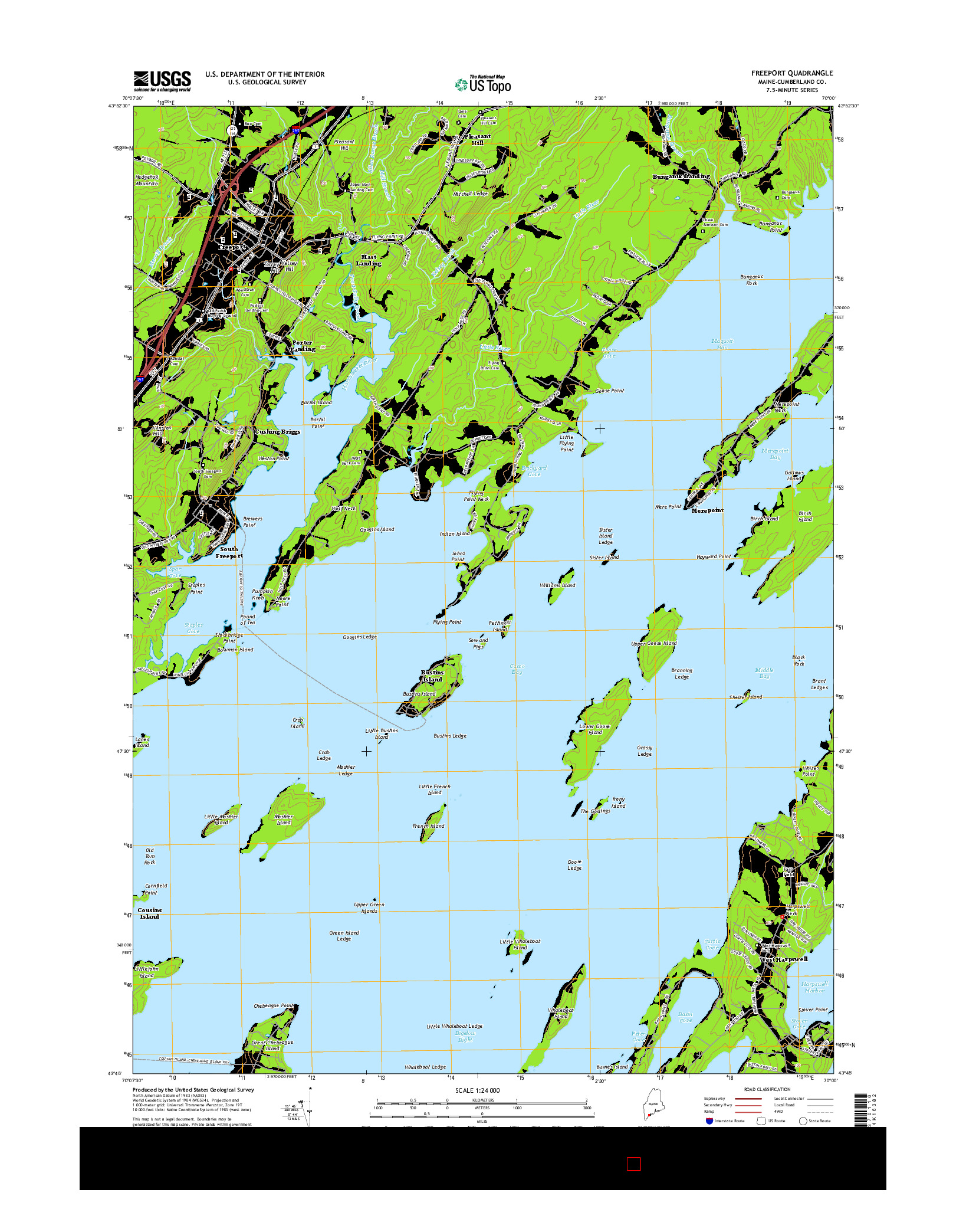 USGS US TOPO 7.5-MINUTE MAP FOR FREEPORT, ME 2014