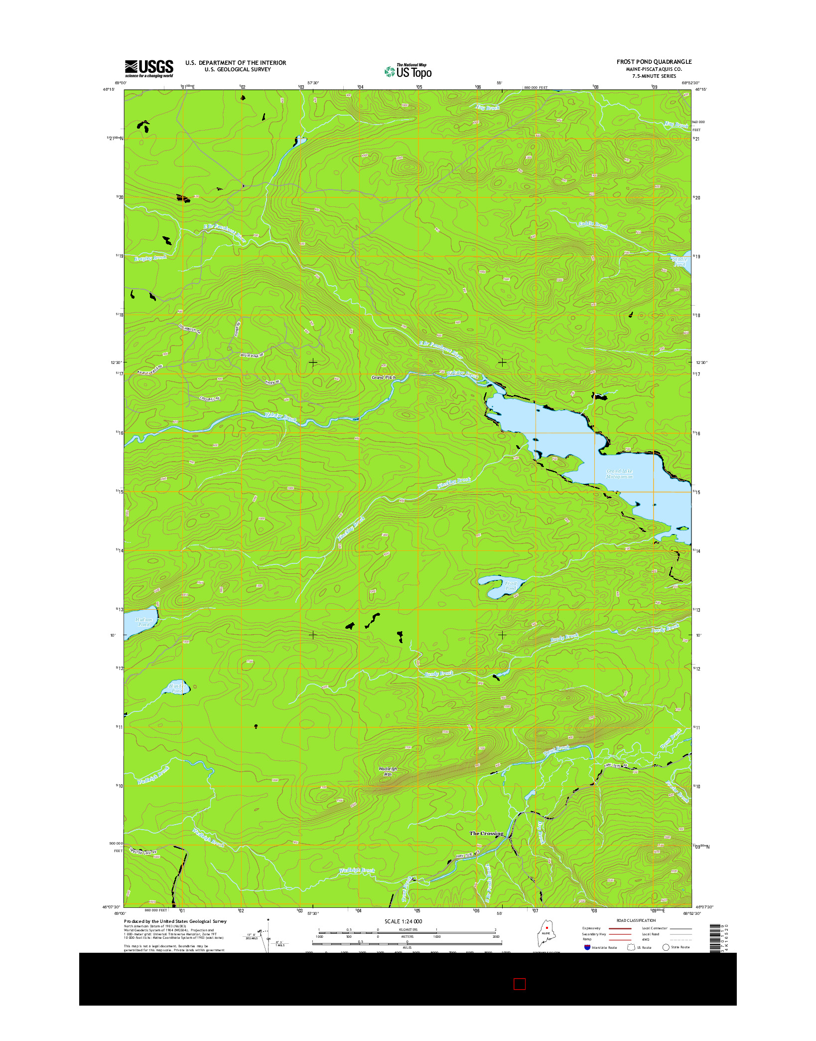 USGS US TOPO 7.5-MINUTE MAP FOR FROST POND, ME 2014
