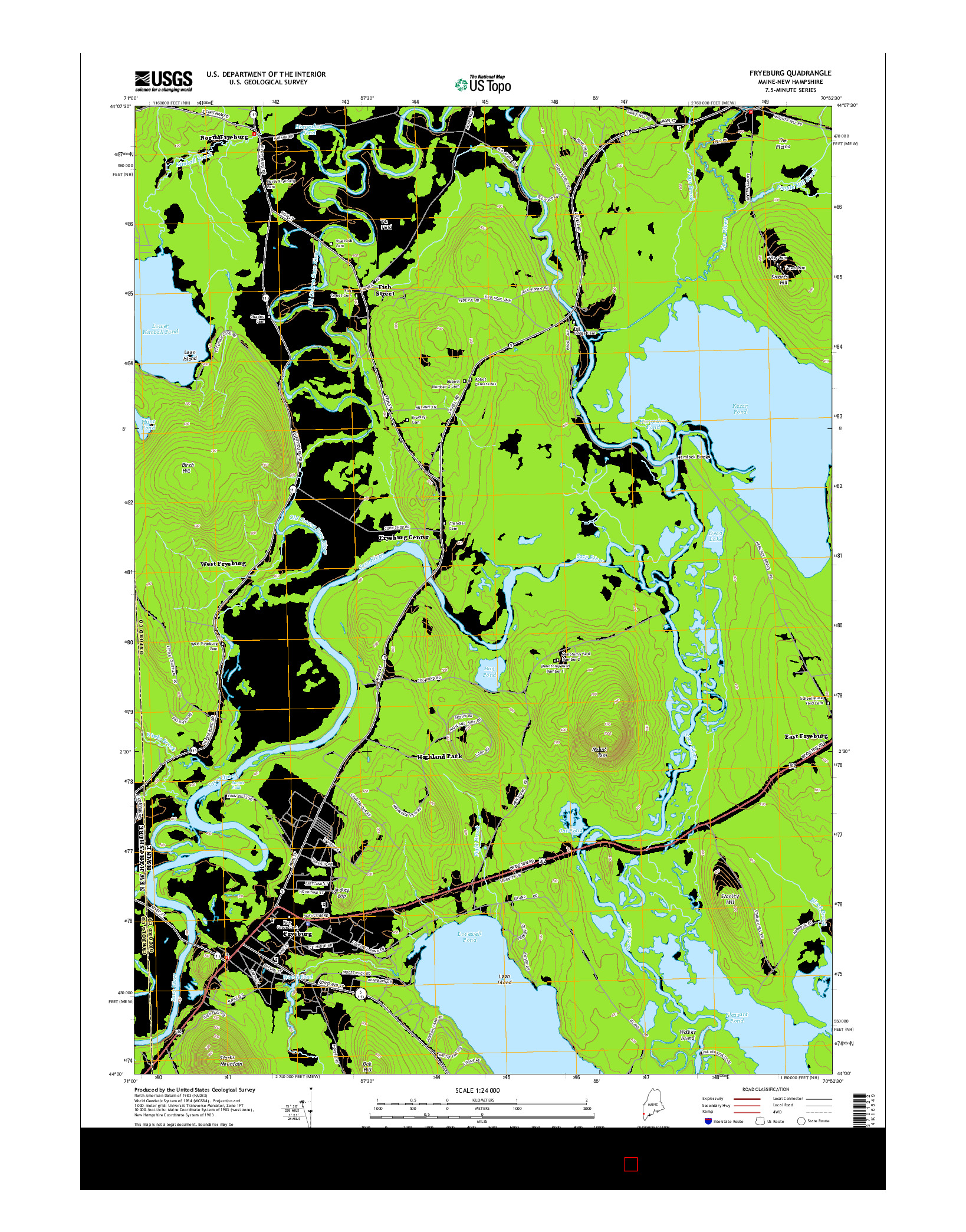 USGS US TOPO 7.5-MINUTE MAP FOR FRYEBURG, ME-NH 2014
