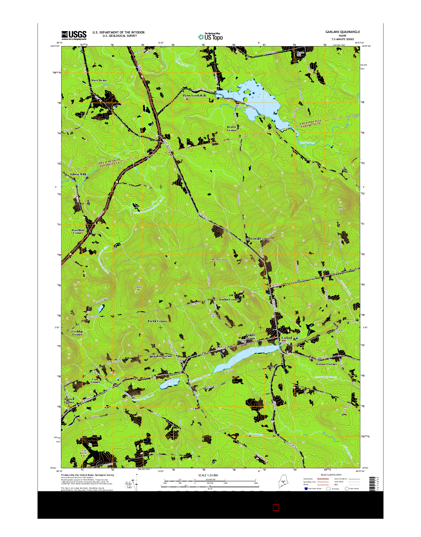 USGS US TOPO 7.5-MINUTE MAP FOR GARLAND, ME 2014